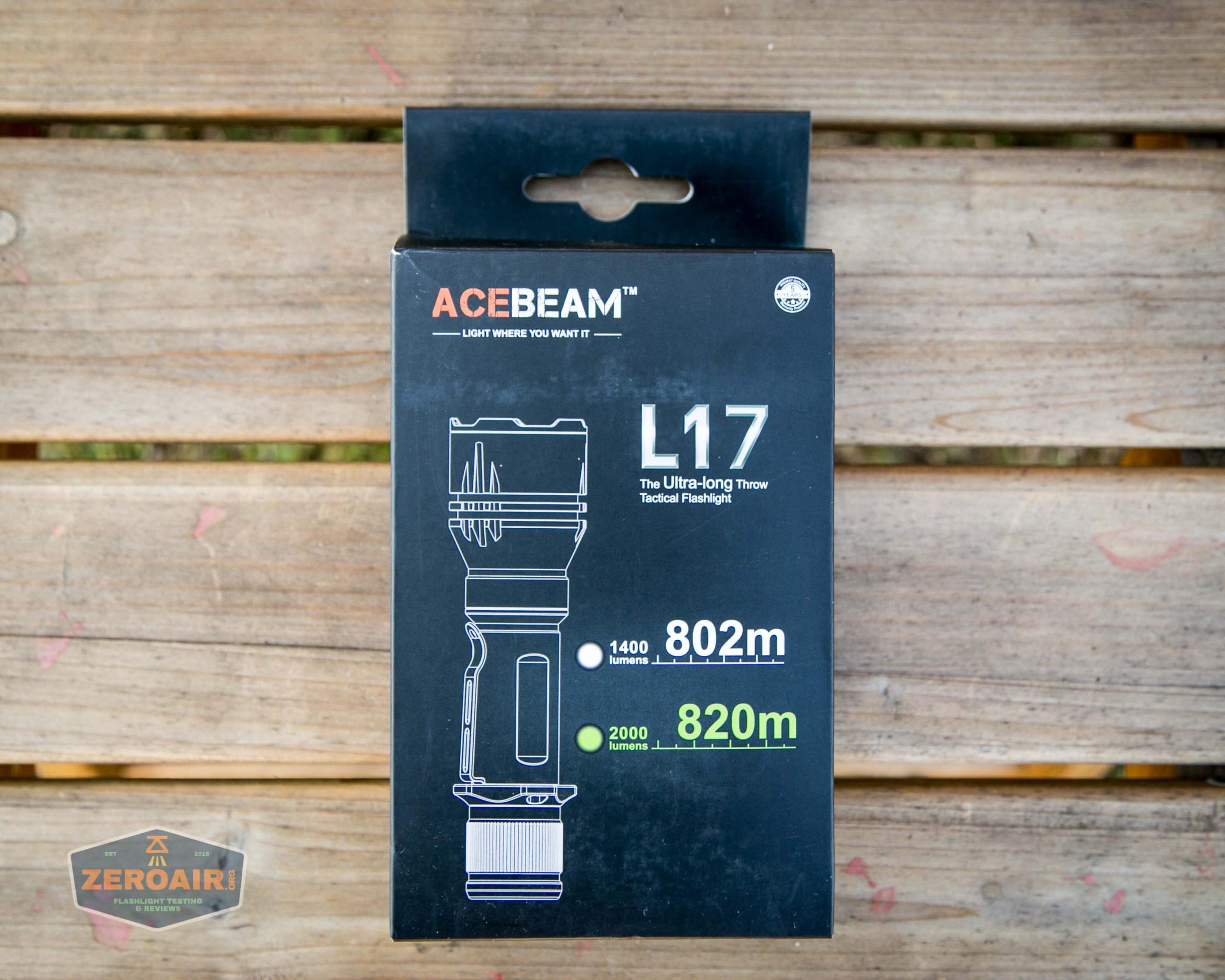 acebeam l17 osram white 18650 thrower box