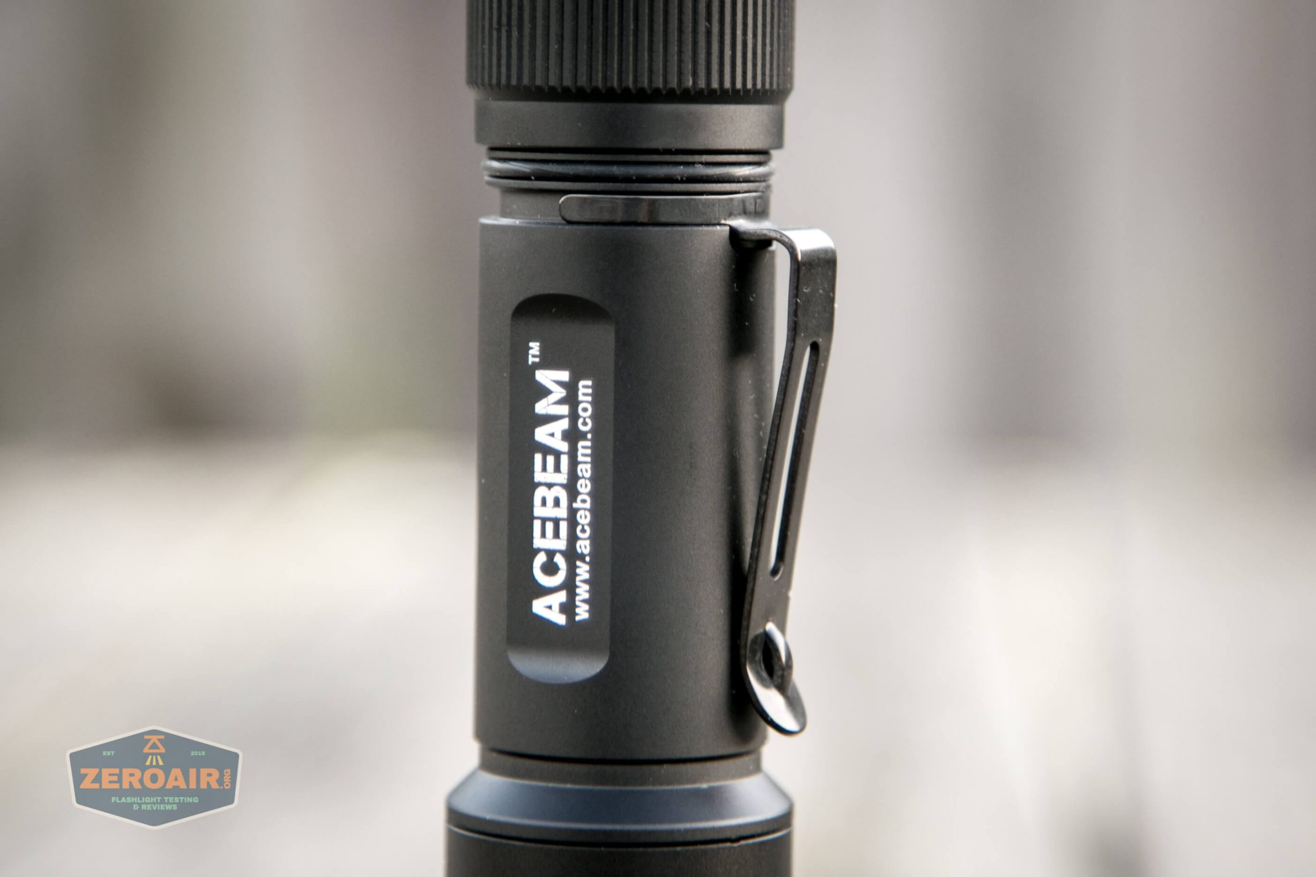 acebeam l17 osram white 18650 thrower tactical ring off showing pocket clip attachment