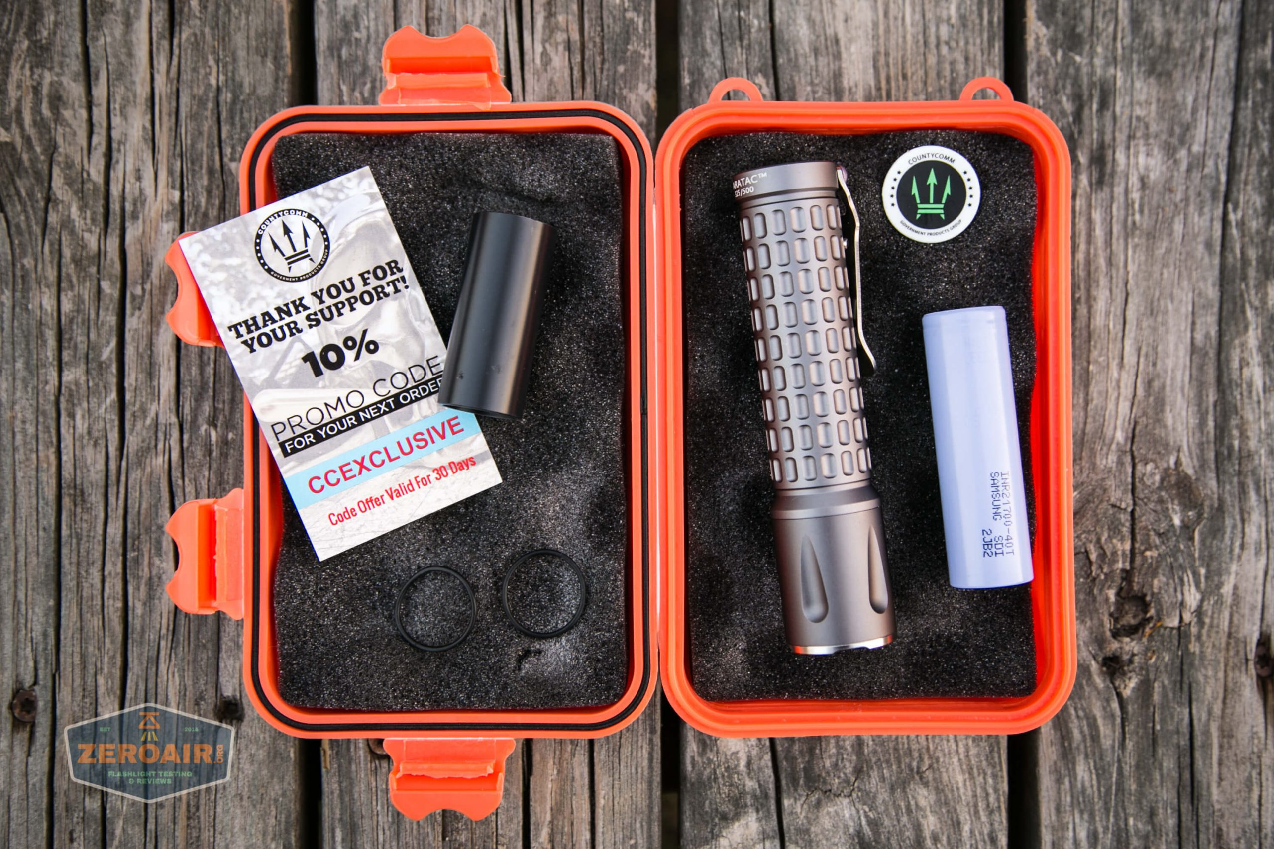 countycomm reylight 21700 quad emitter flashlight what's included