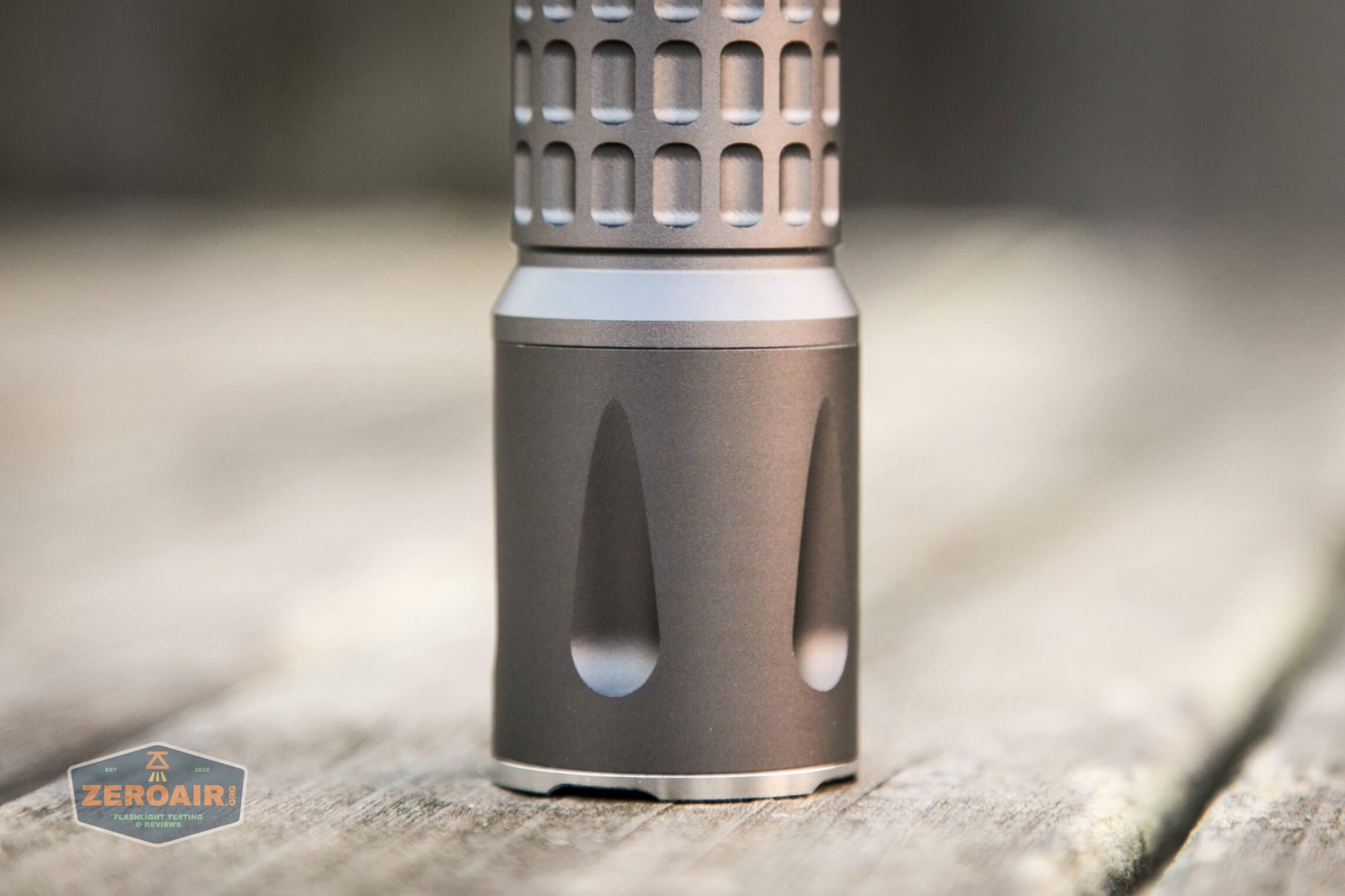 countycomm reylight 21700 quad emitter flashlight showing head and mismatched anodization