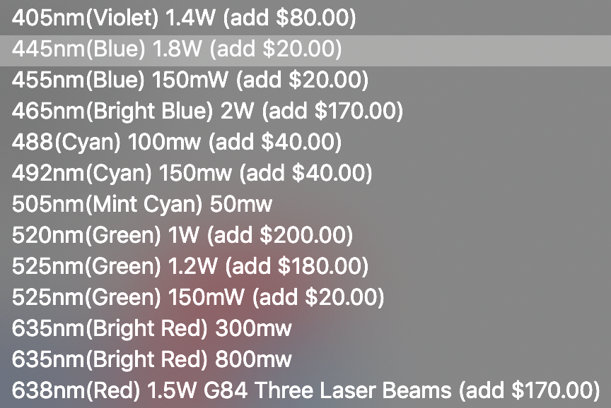 sanwu red guardian laser diode options