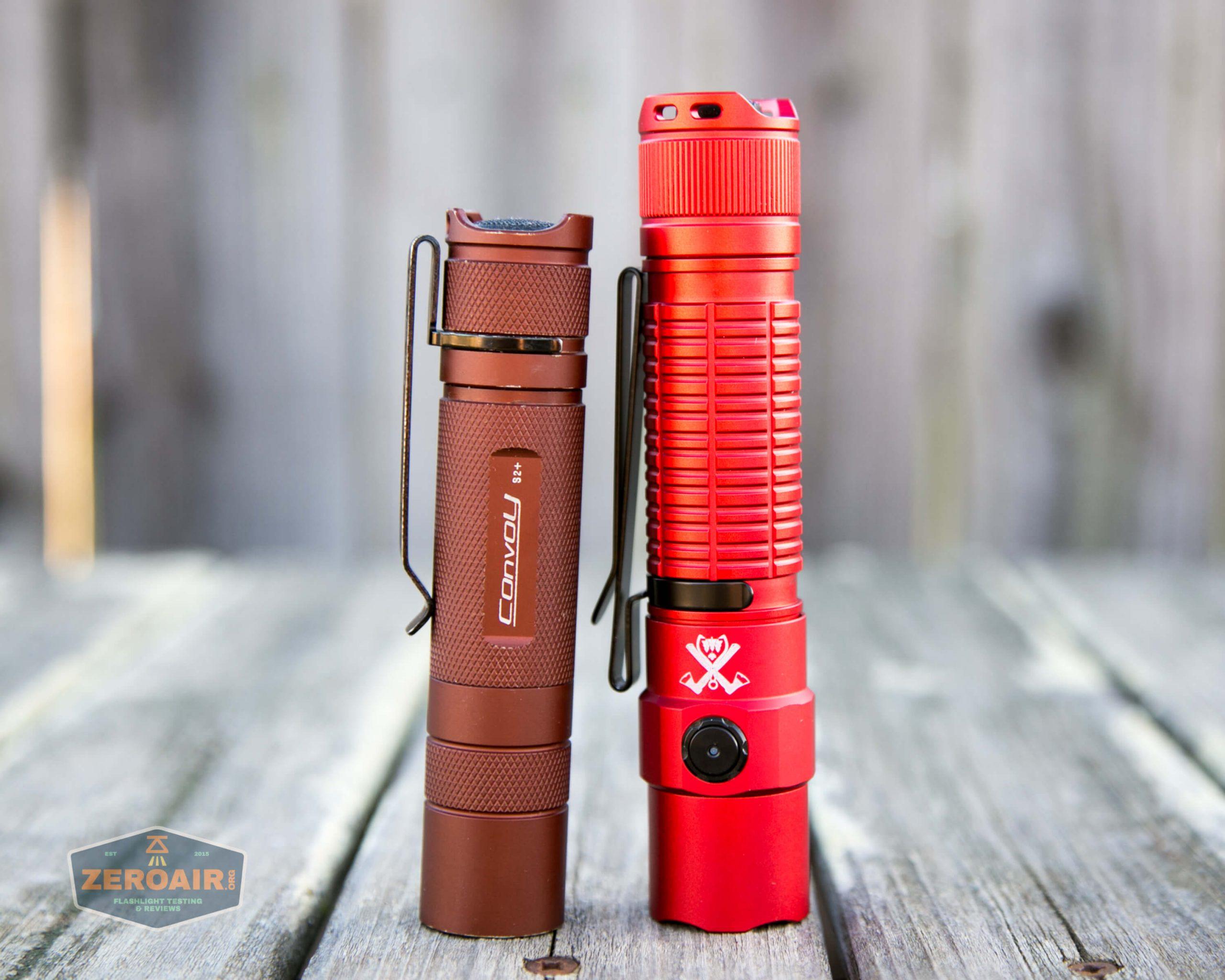 thrunite tt20 the outsider red 21700 flashlight beside convoy s2+