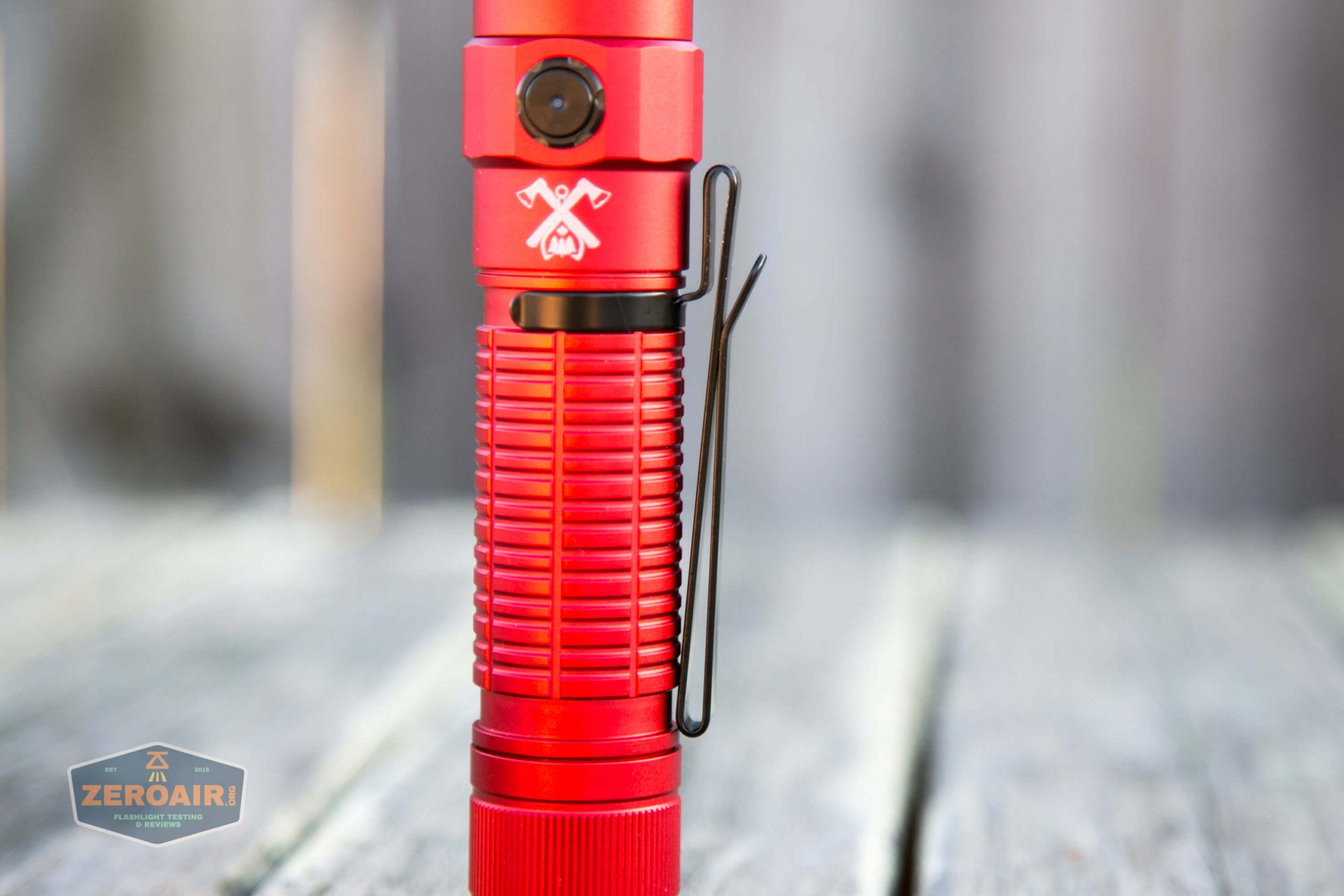 thrunite tt20 the outsider red 21700 flashlight pocket clip side