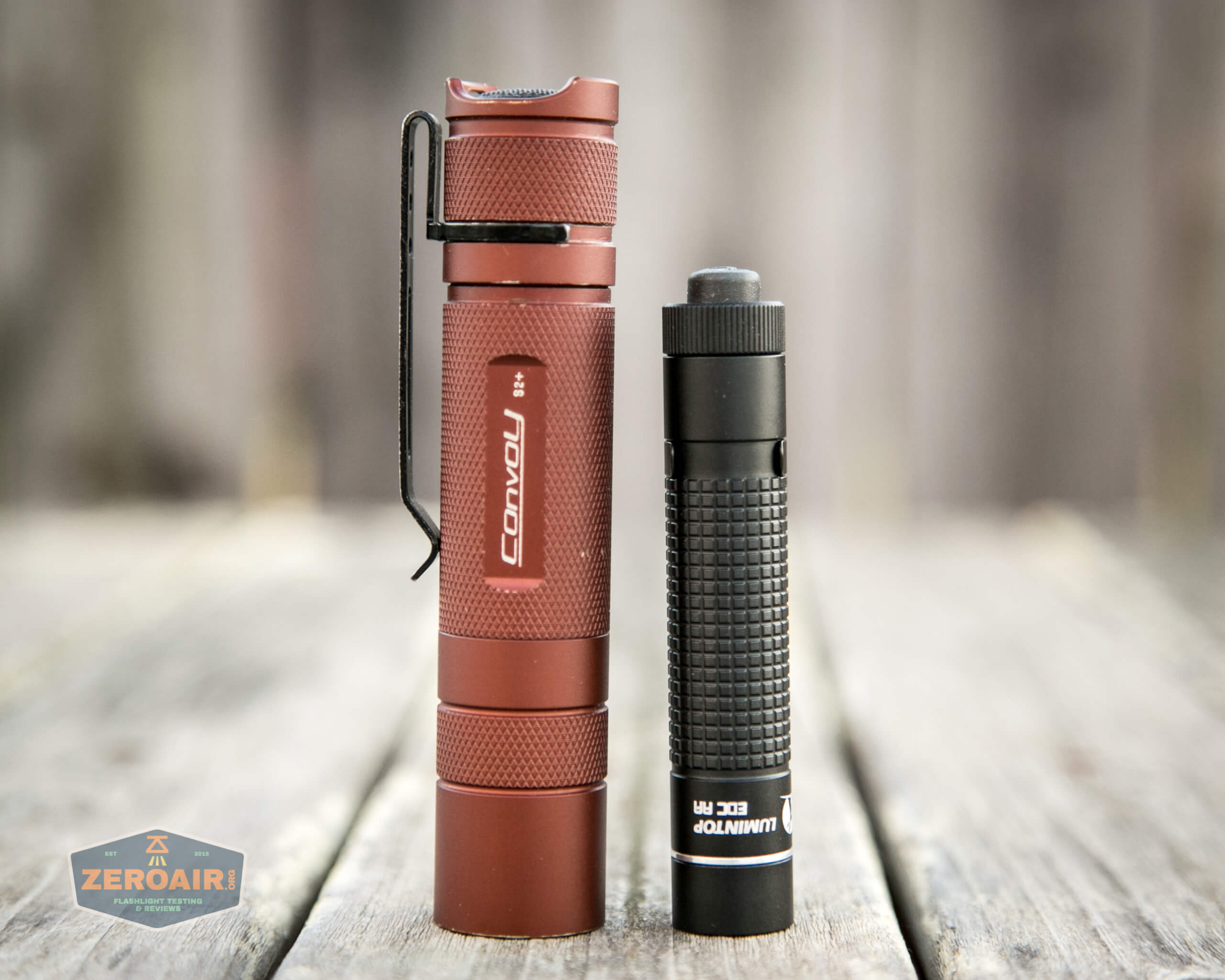lumintop edc aa flashlight beside convoy s2+