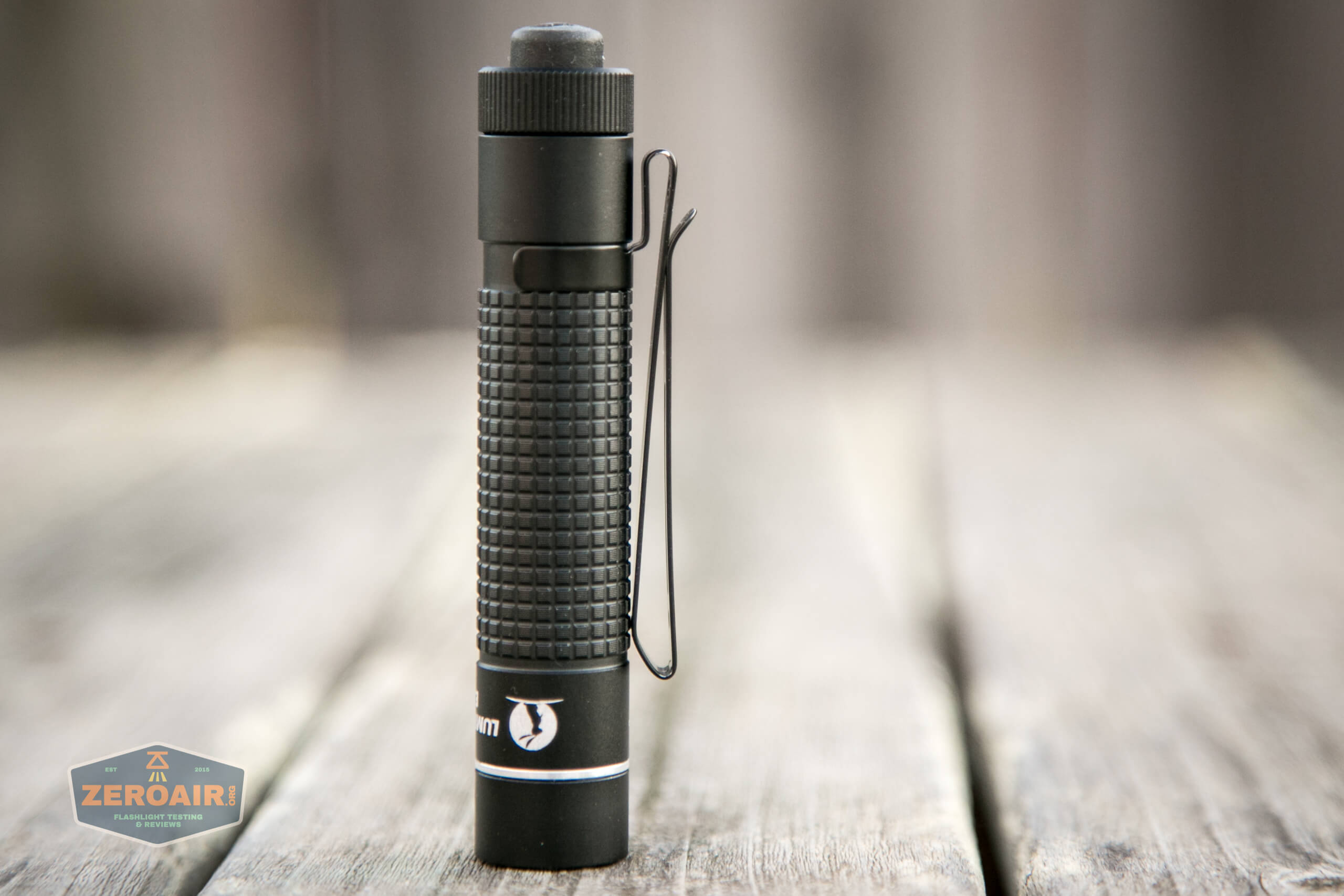 lumintop edc aa flashlight full side view of pocket clip