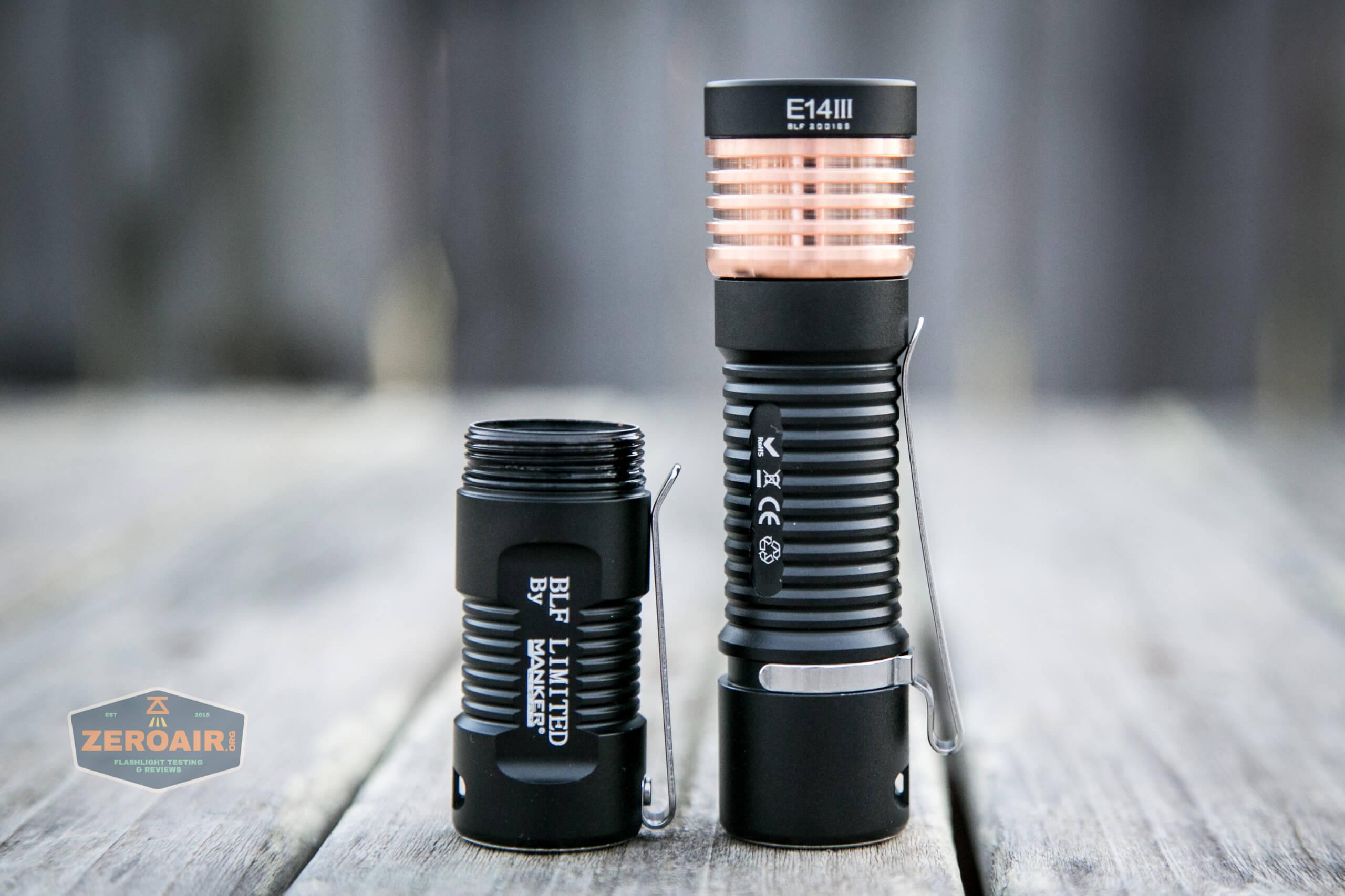 manker e14iii 18350 flood flashlight 18650 setup with 18350 body