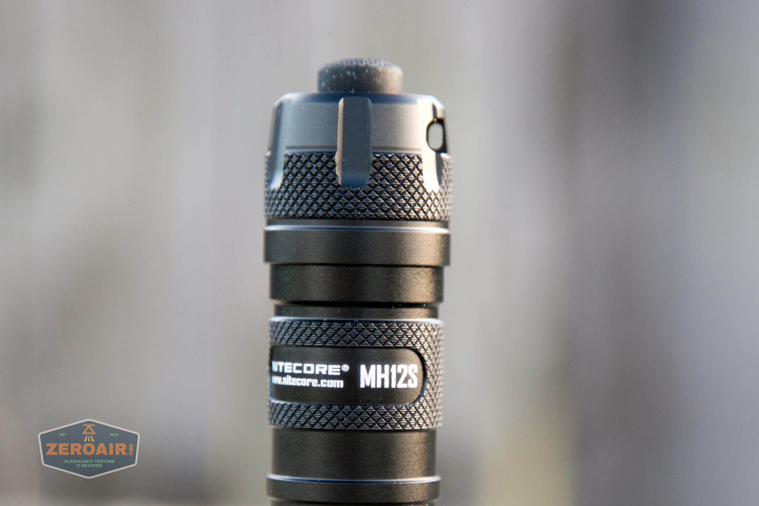 nitecore mh12s tactical flashlights showing tailcap knurling