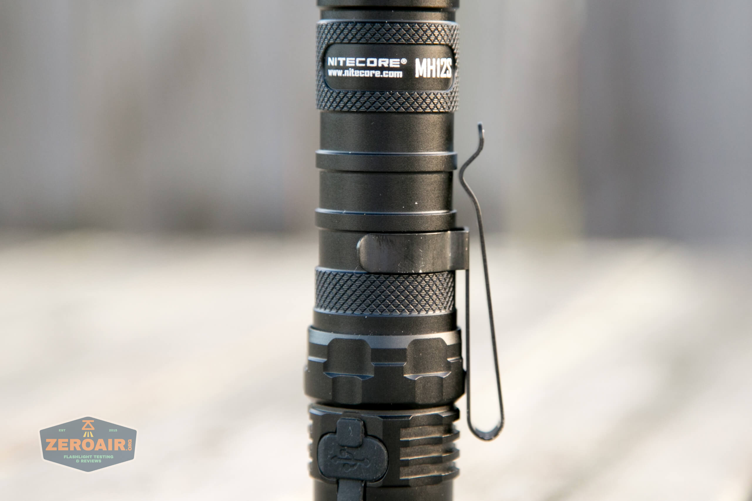 nitecore mh12s tactical flashlights pocket clip on head end