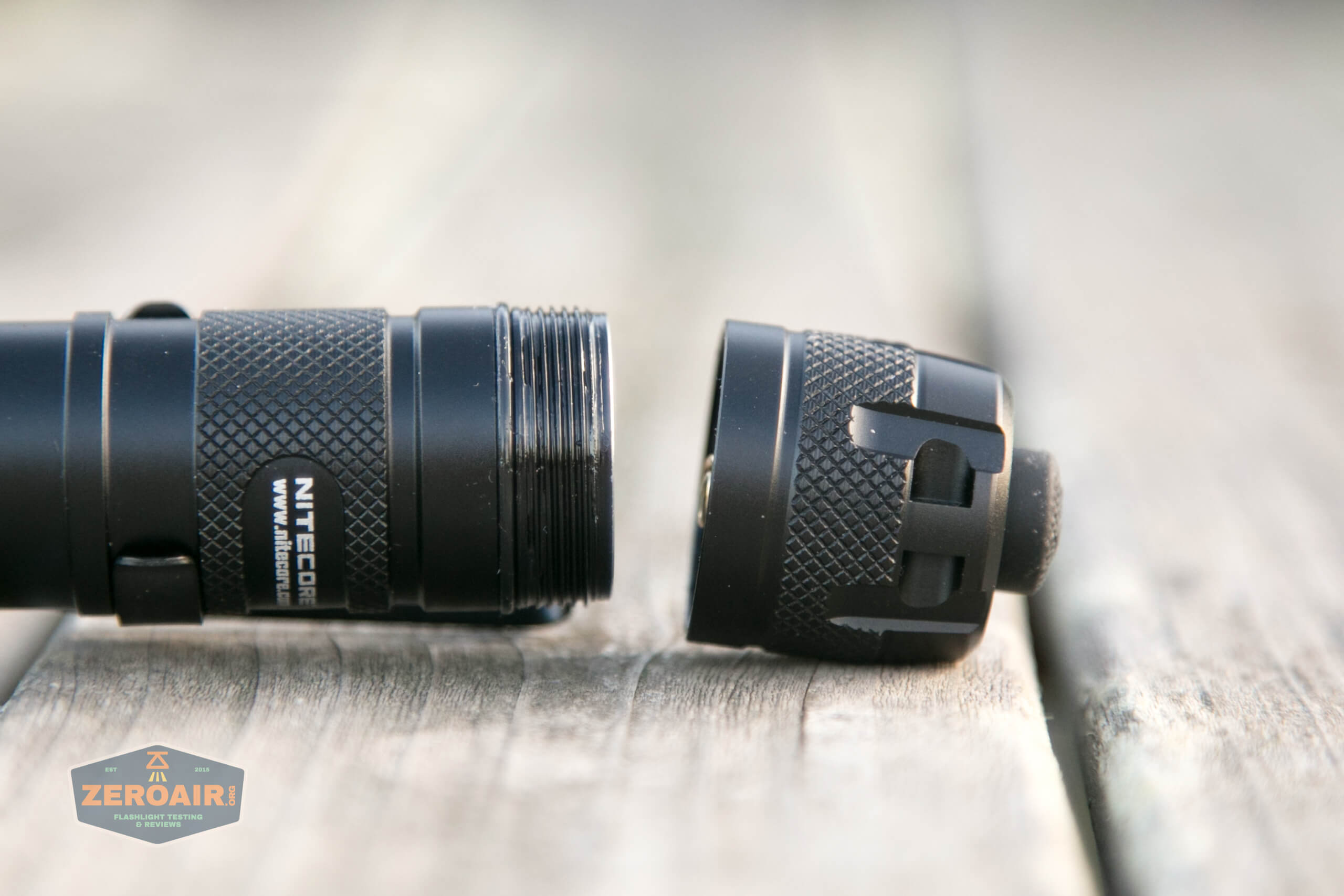 nitecore mh12s tactical flashlight tailcap off