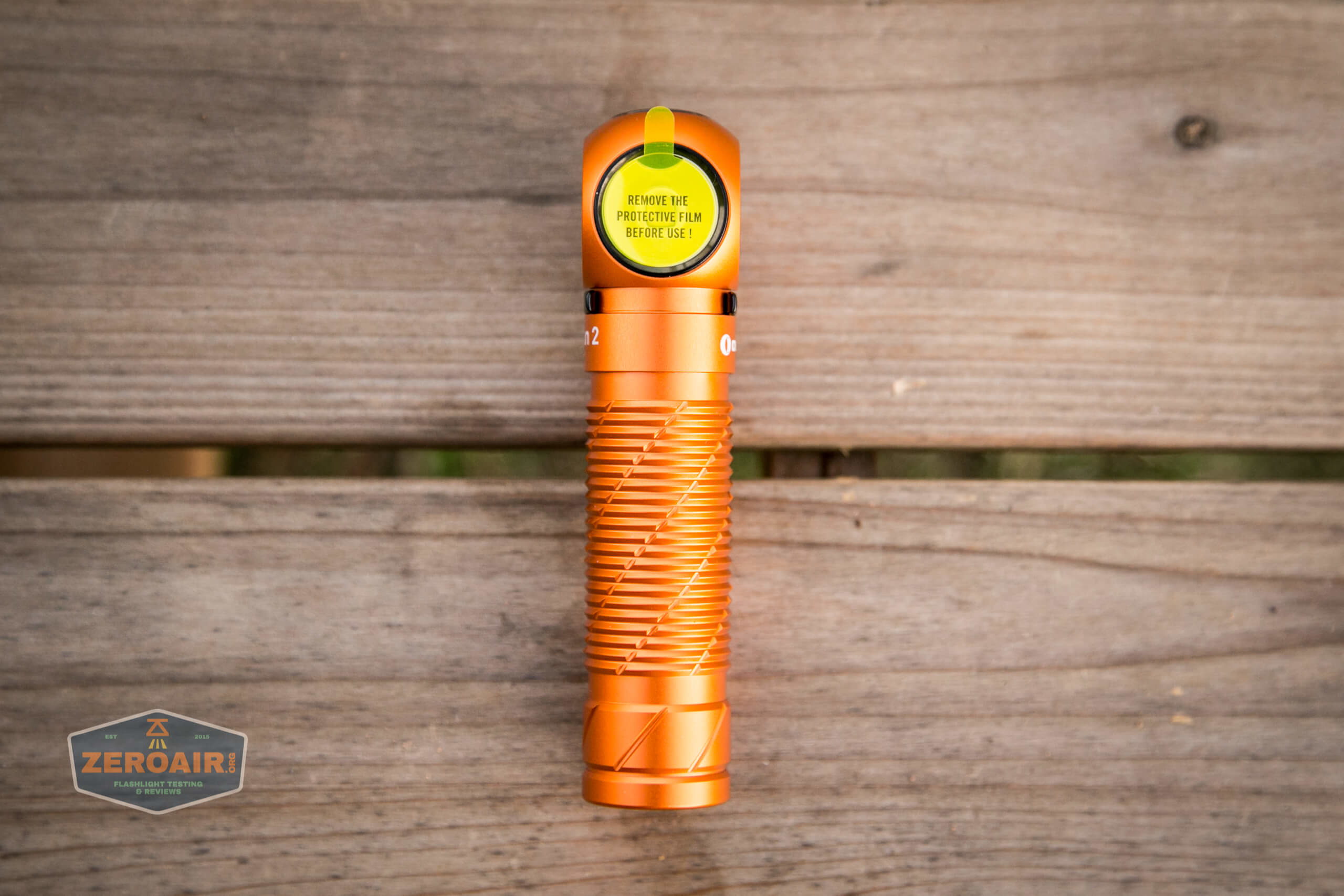 olight perun 2 21700 headlamp orange protective cover on lens