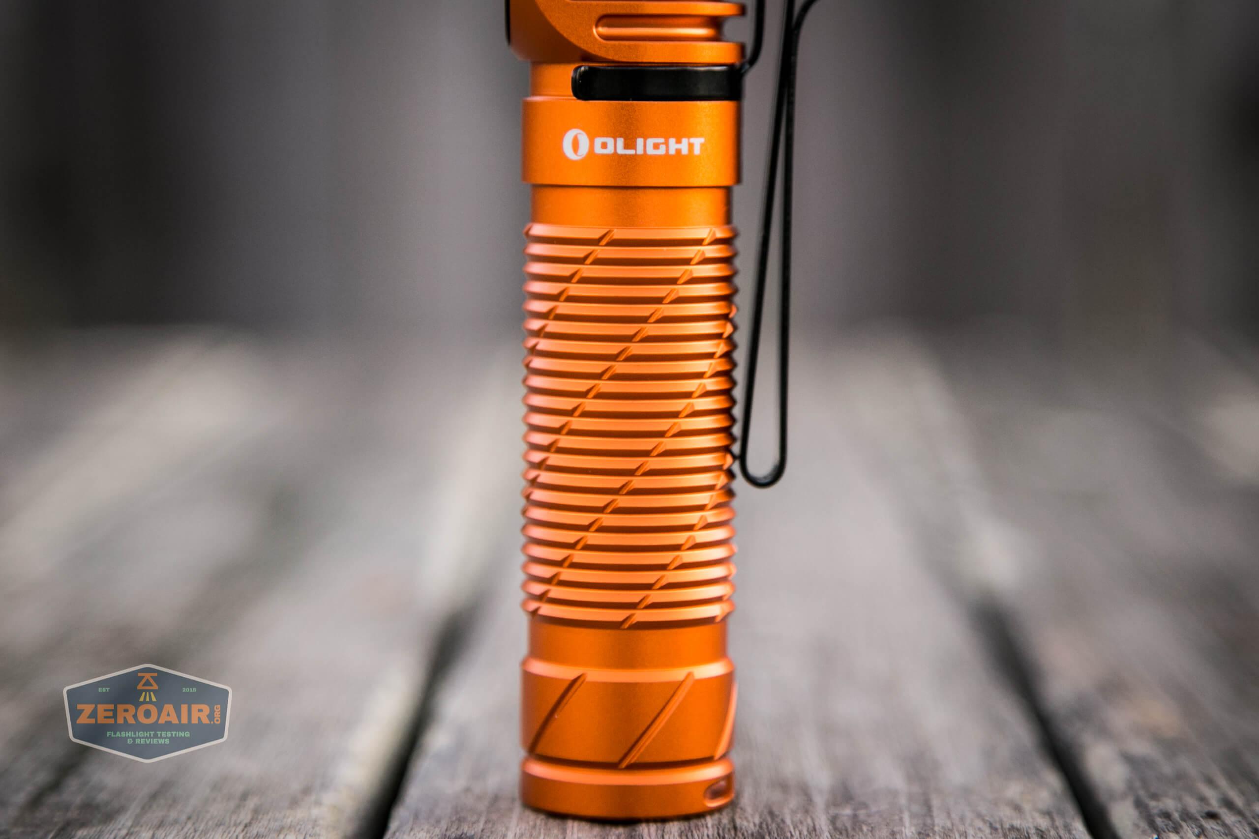 olight perun 2 21700 headlamp orange knurling grooves