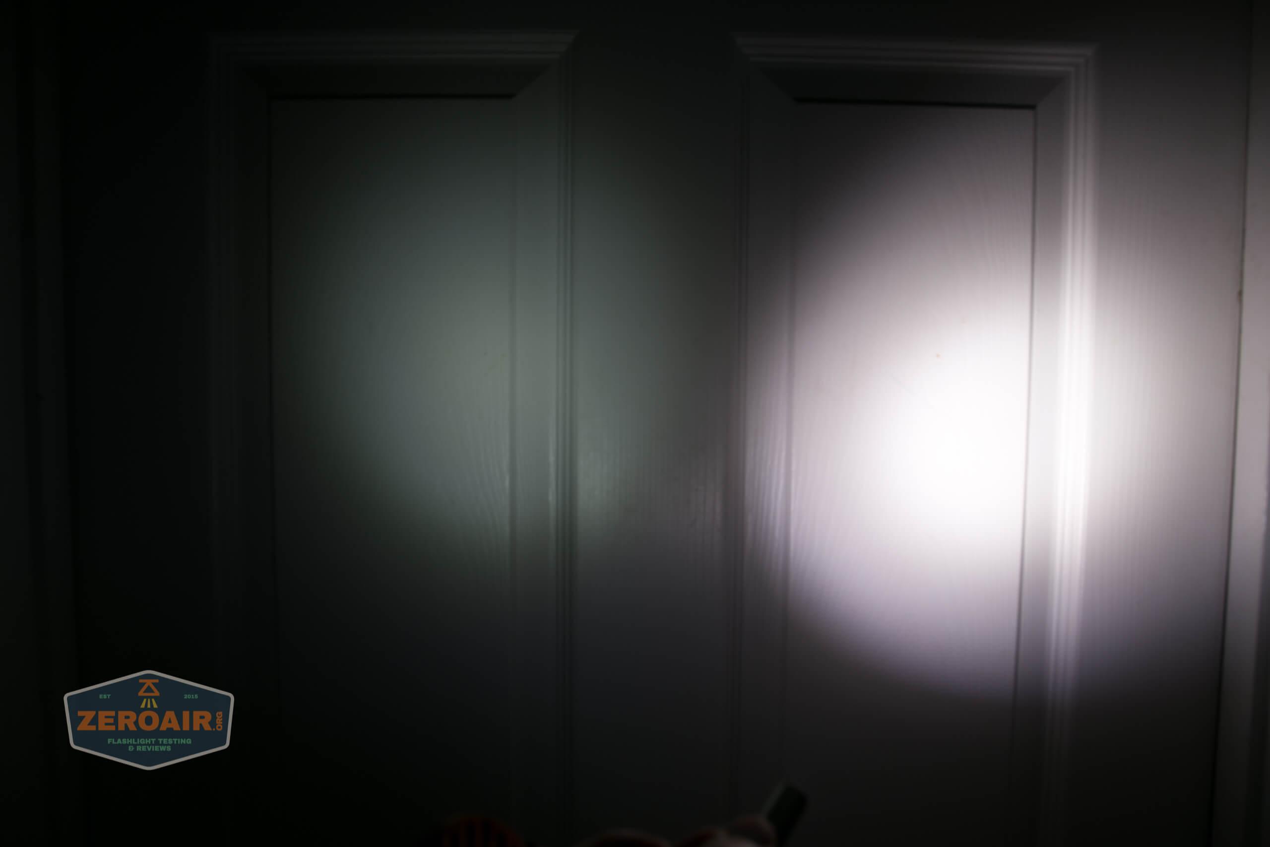 olight perun 2 21700 headlamp orange beamshot door 1