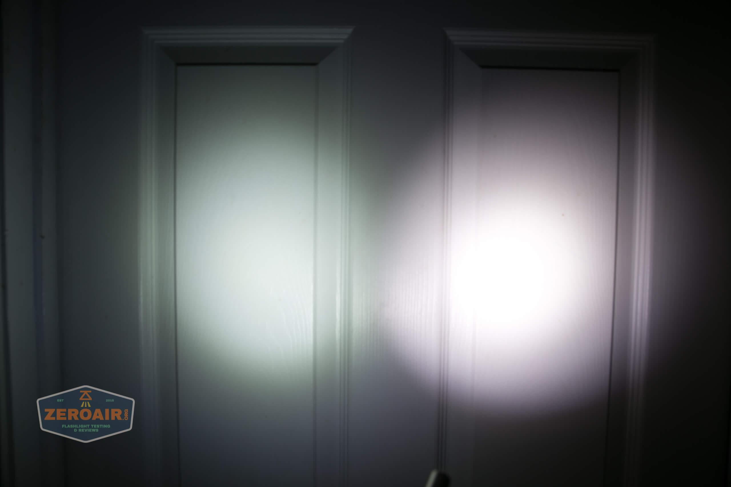 olight perun 2 21700 headlamp orange beamshot door 2