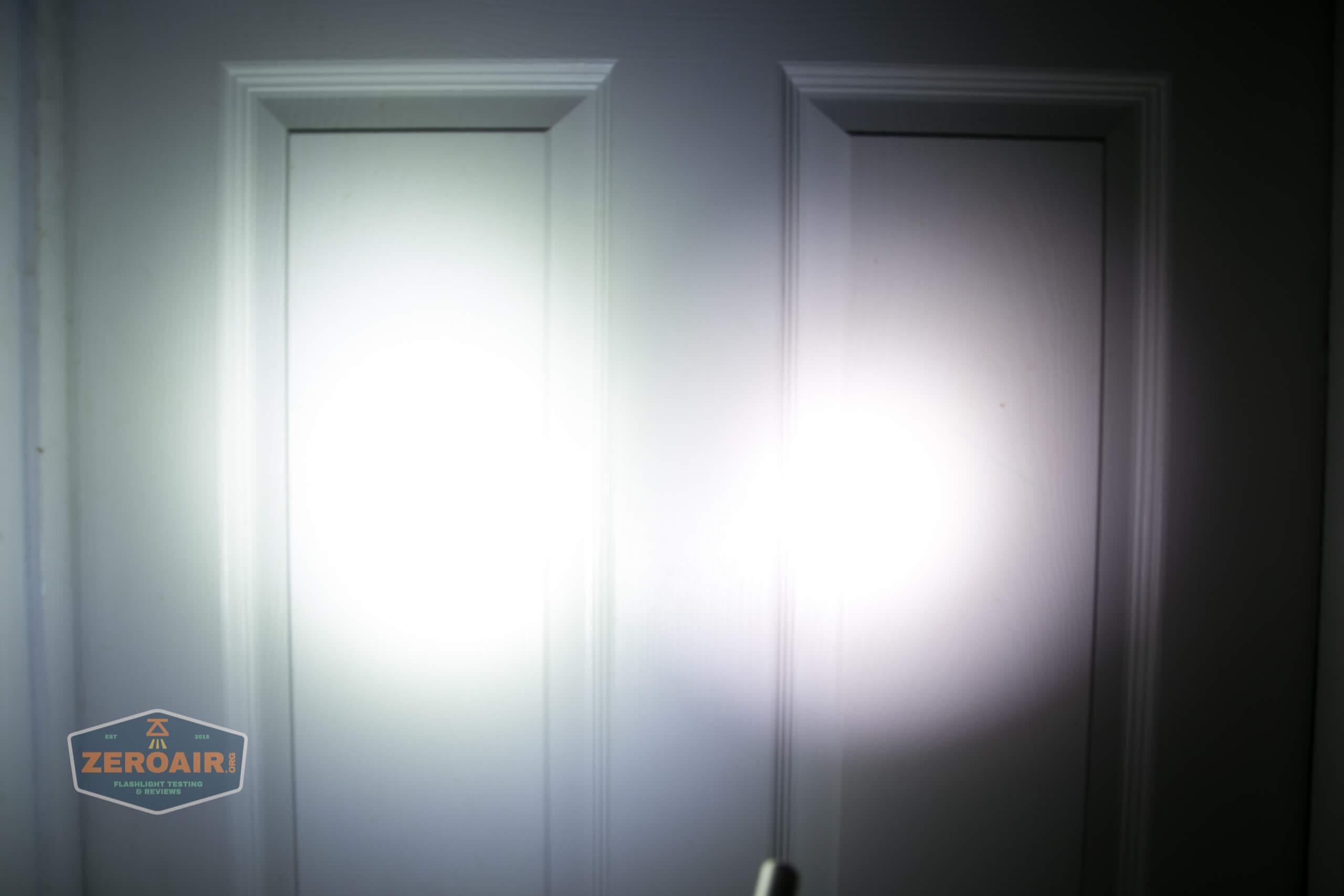 olight perun 2 21700 headlamp orange beamshot door 3