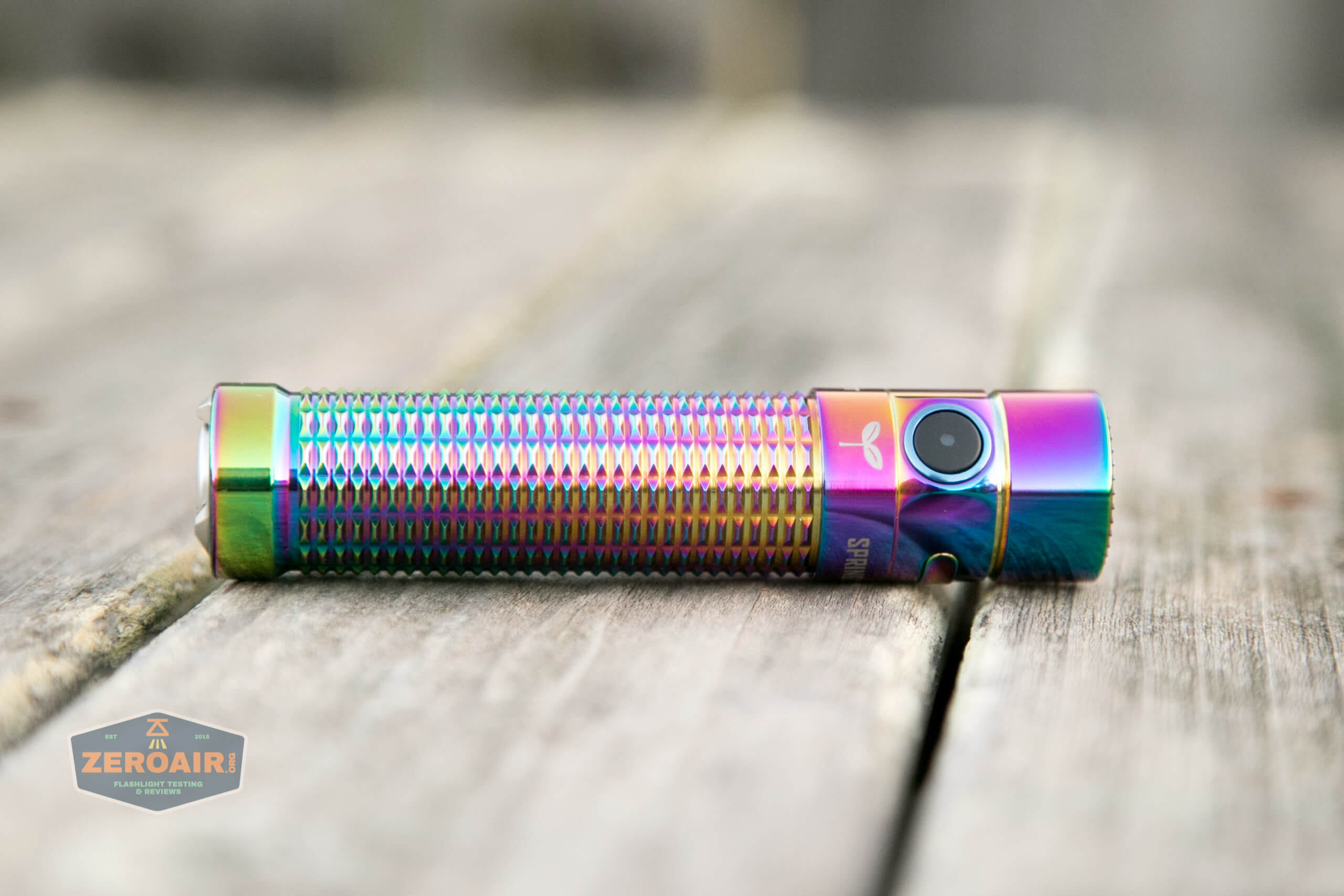 olight warrior mini rainbow spring 2 led flashlight on side