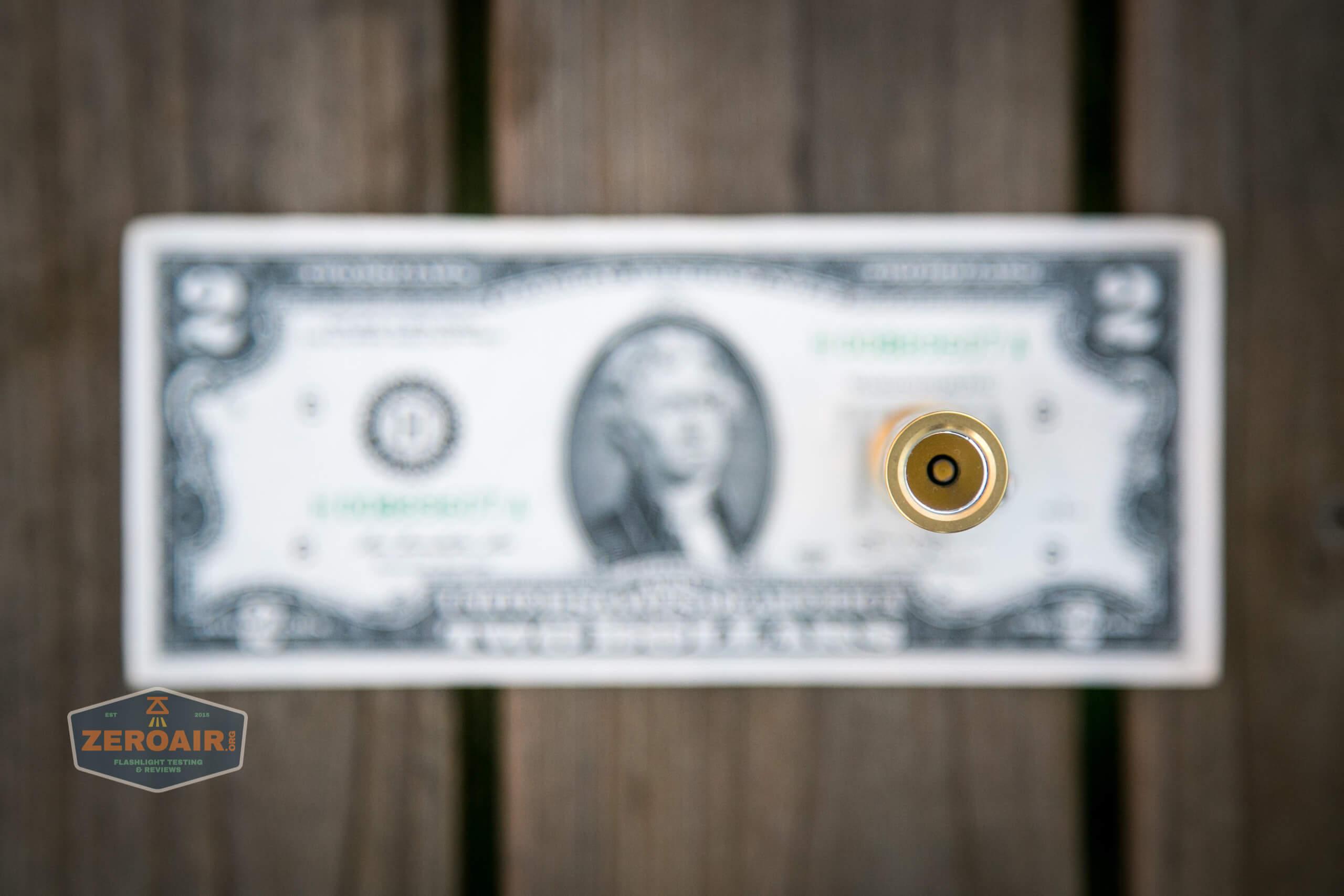 reylight pineapple mini brass nichia 219b on two dollar bill