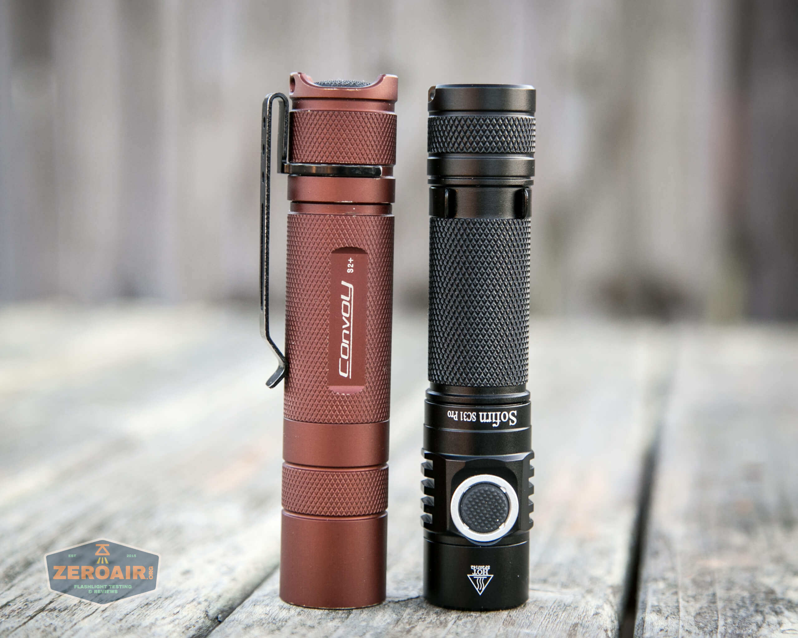 sofirn sc31 pro Andúril 18650 flashlight beside convoy s2+