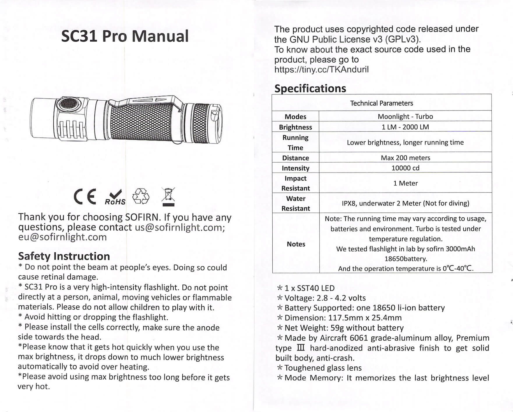 sofirn sc31 pro Andúril 18650 flashlight manual 1