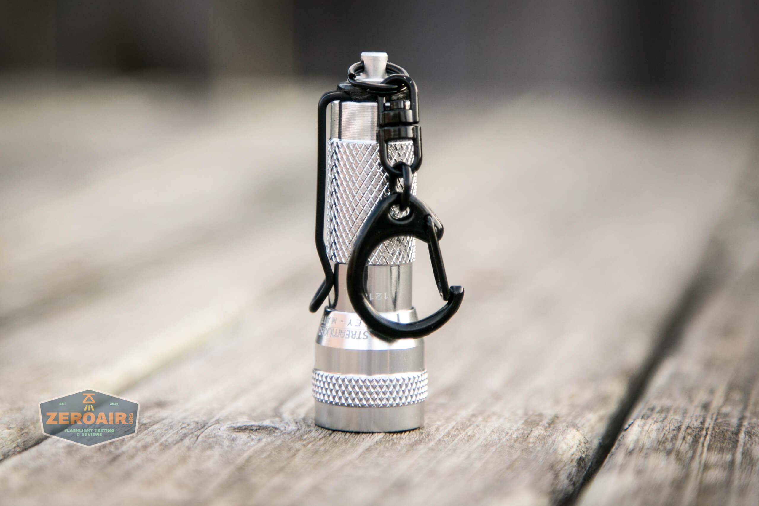 streamlight key-mate 72101 keychain twisty flashlight headstanding showing ring