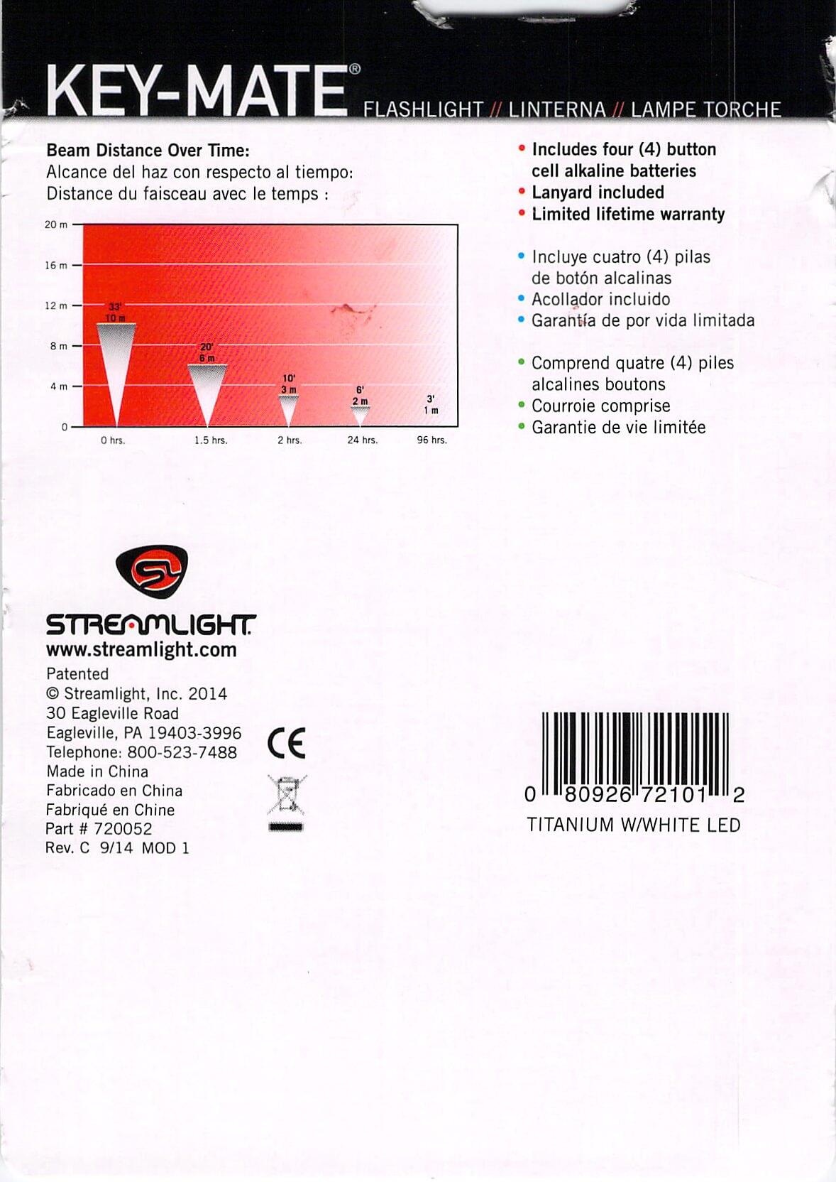 streamlight key-mate 72101 keychain twisty flashlight paperwork