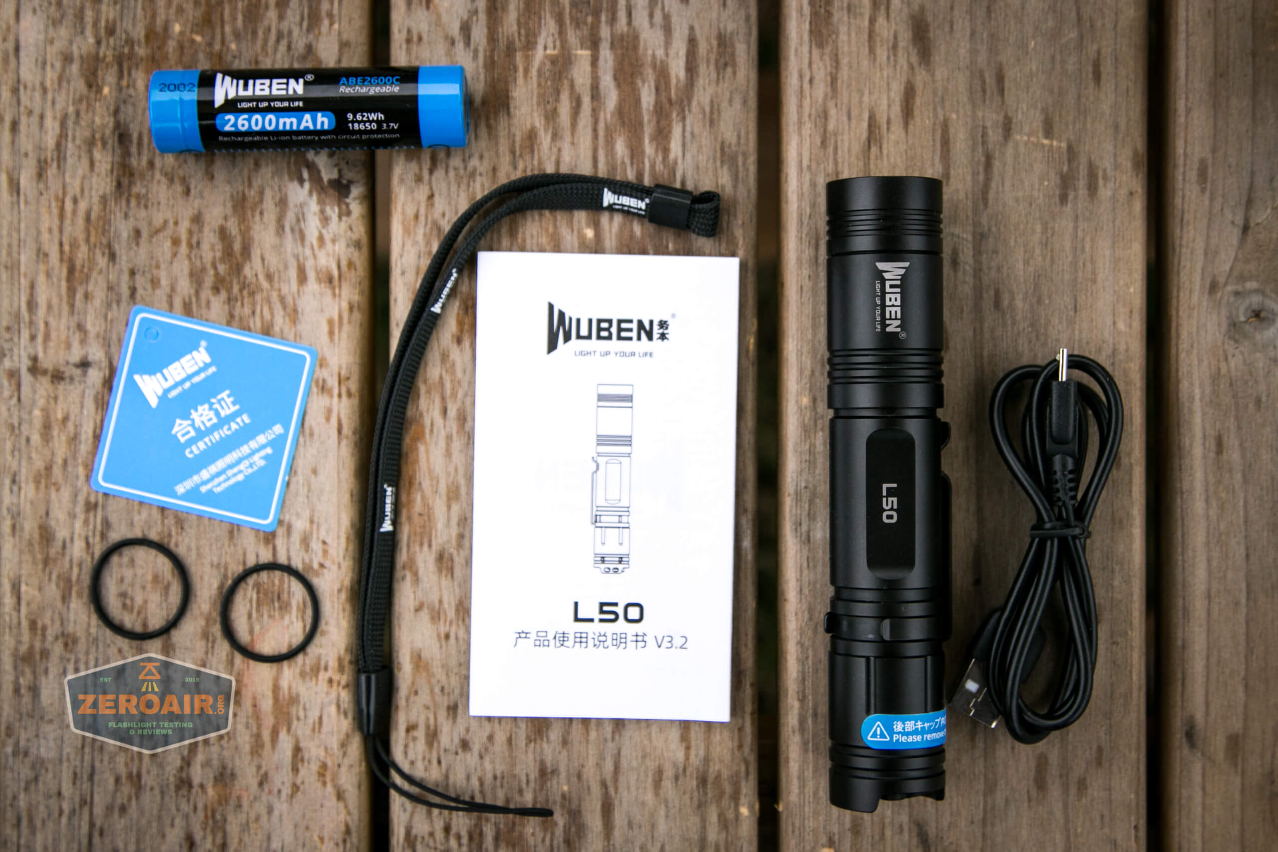 wuben l50 18650 flashlight what's included