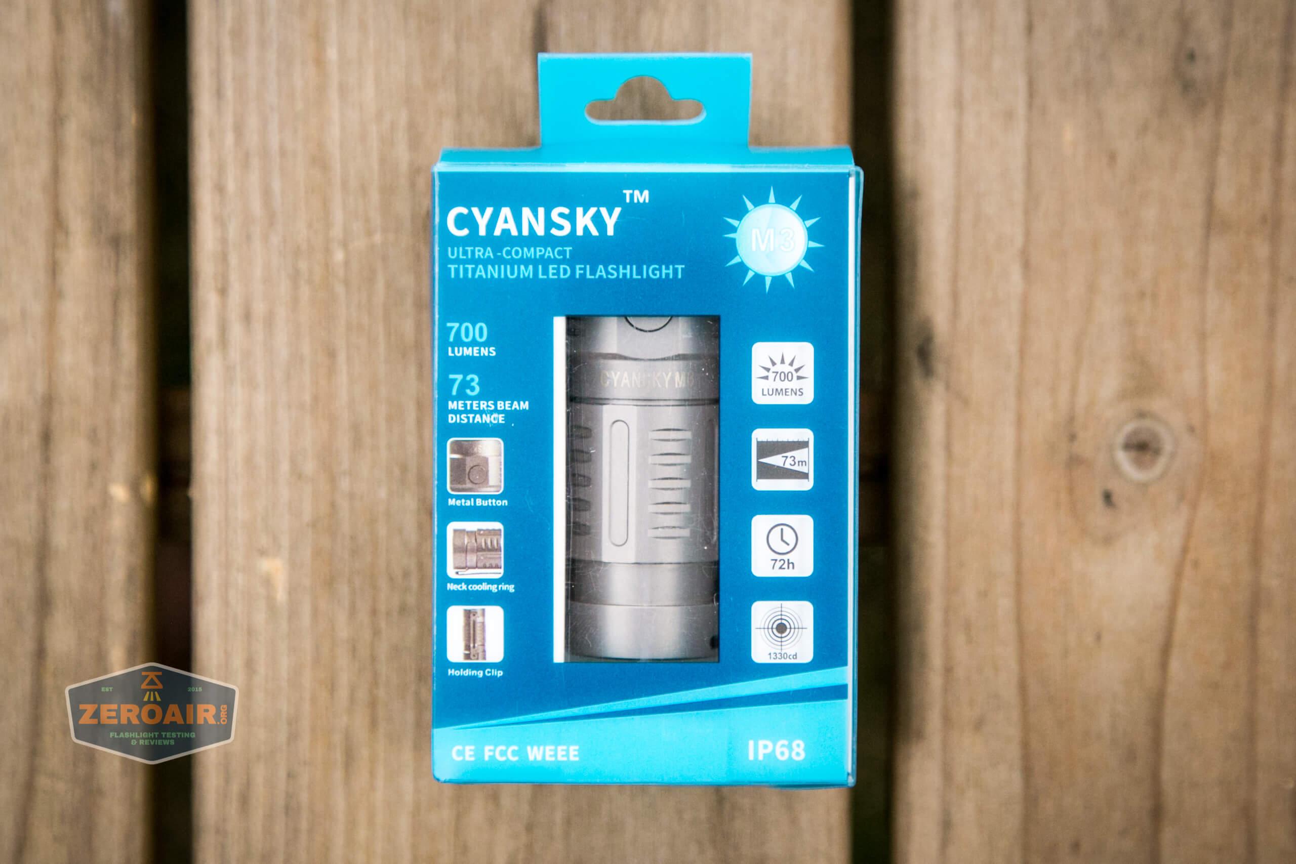 freasygears cyansky m3 titanium pocket flashlight box