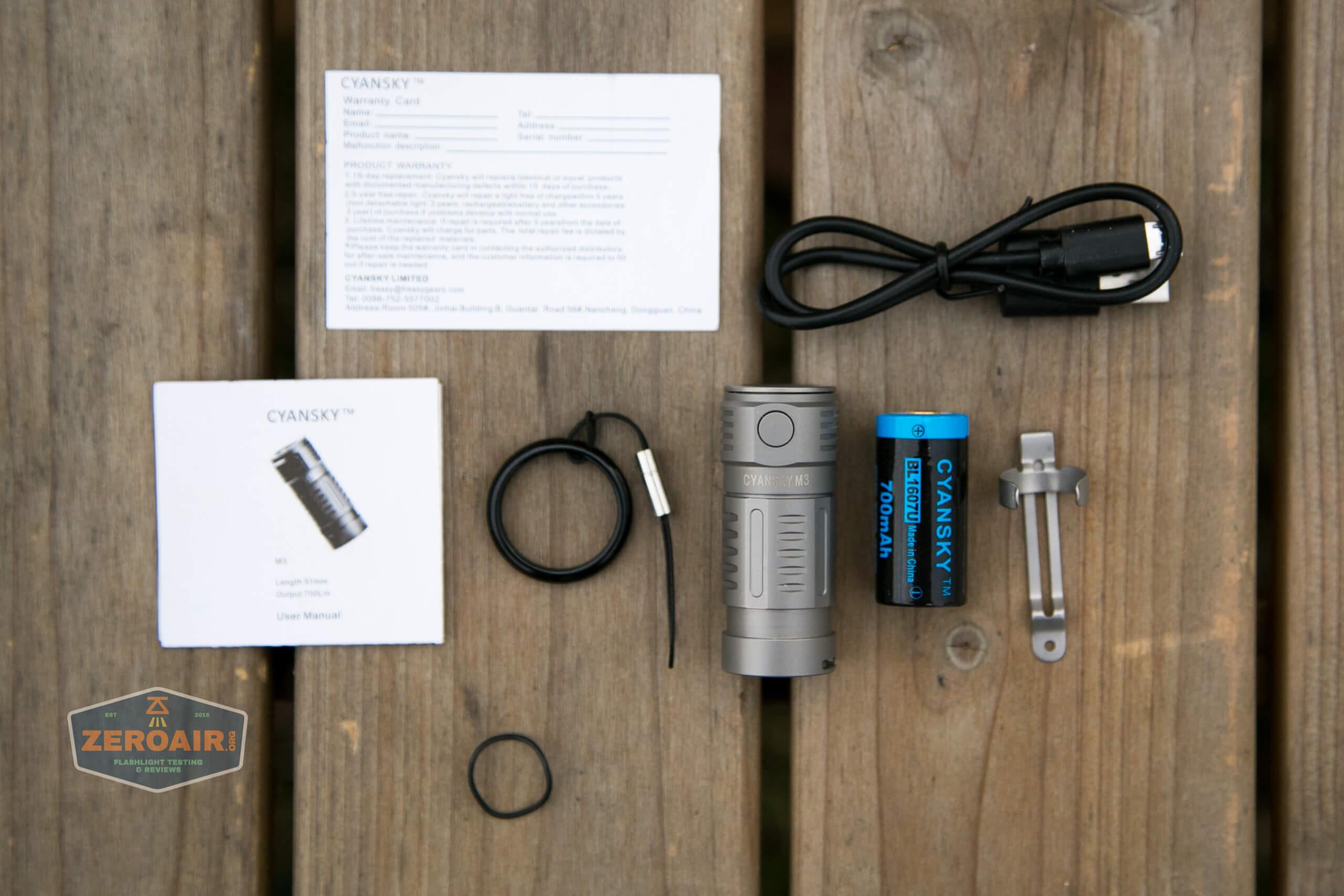 freasygears cyansky m3 titanium pocket flashlight what's included