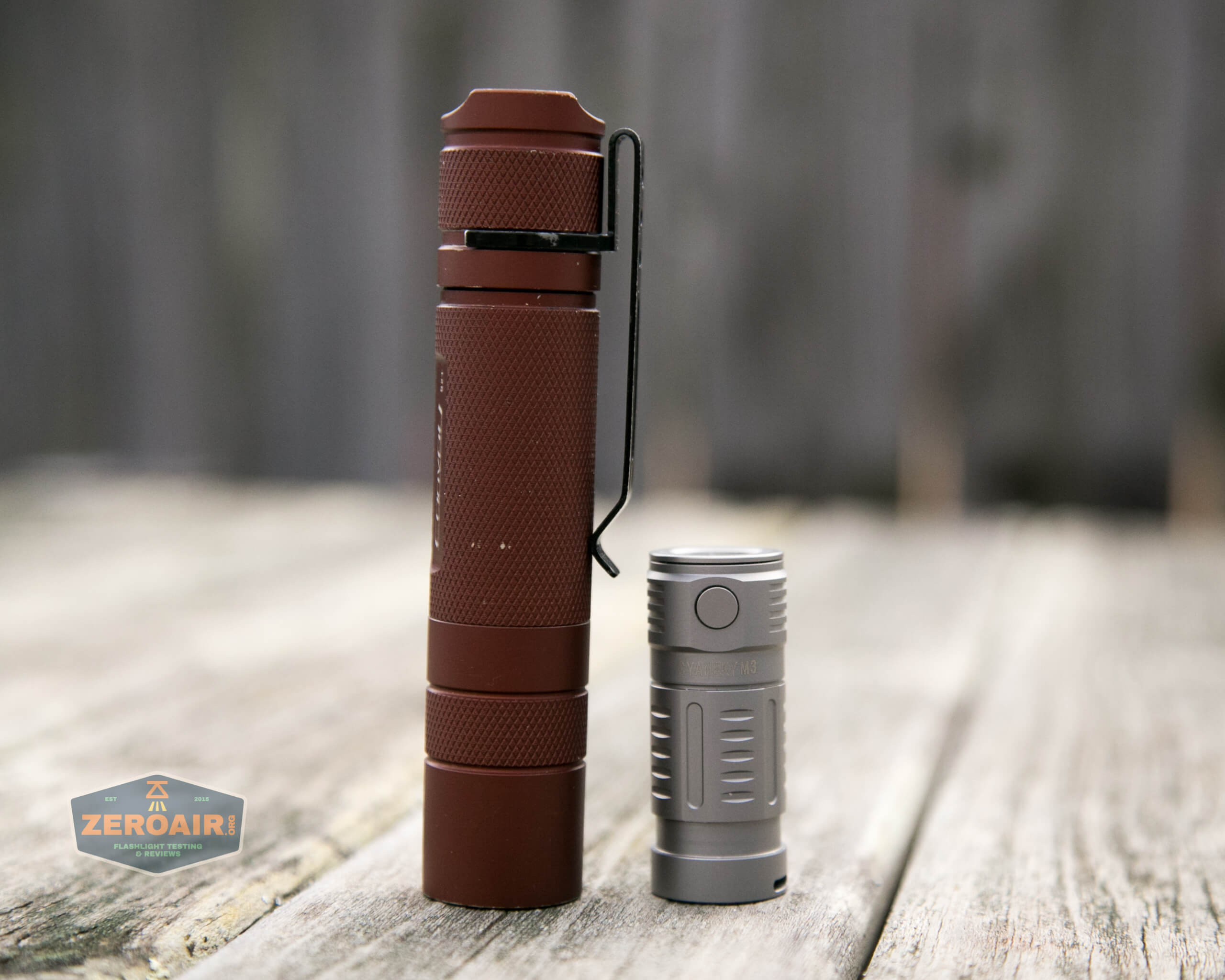 freasygears cyansky m3 titanium pocket flashlight beside convoy s2+