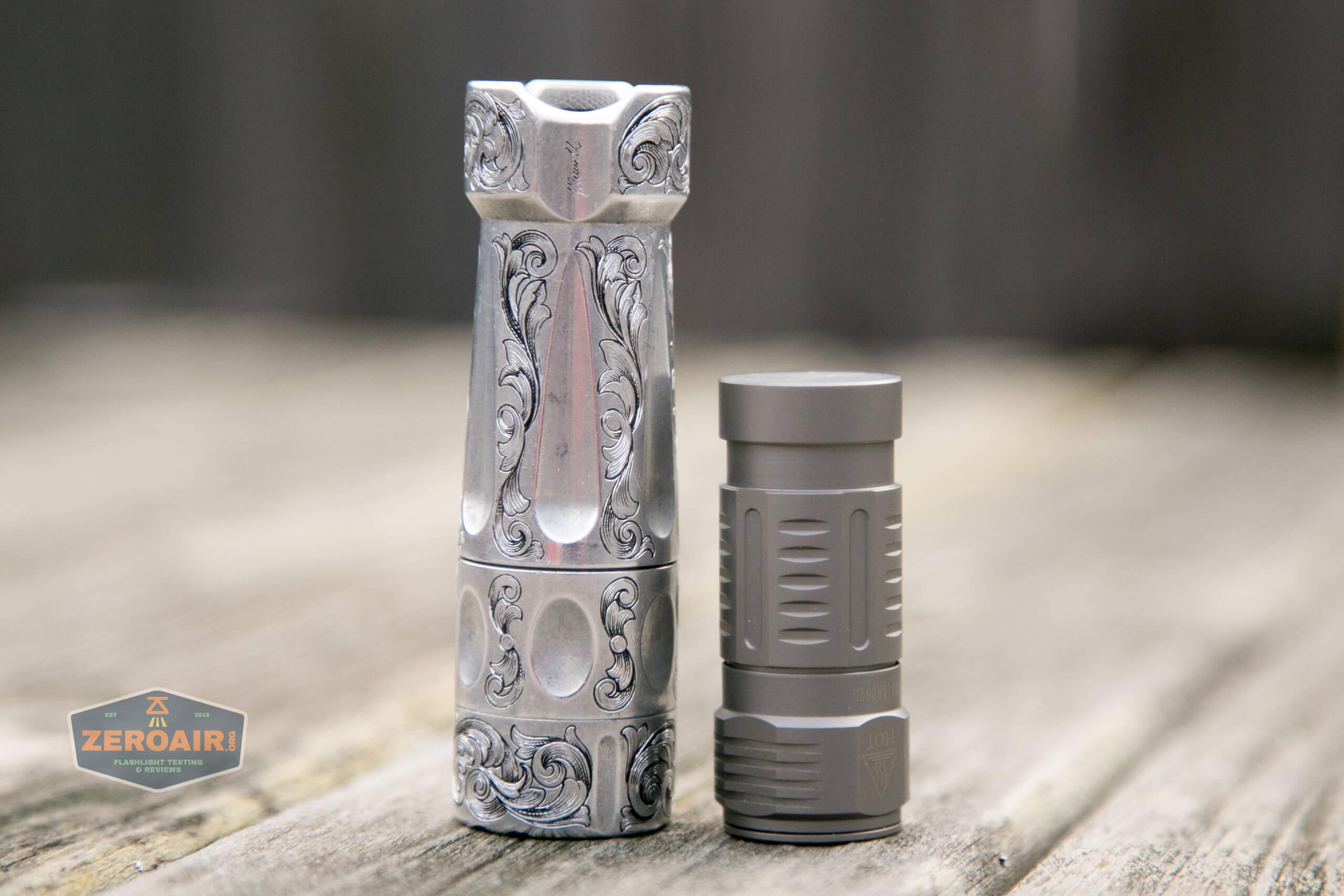 freasygears cyansky m3 titanium pocket flashlight beside torchlab boss 35