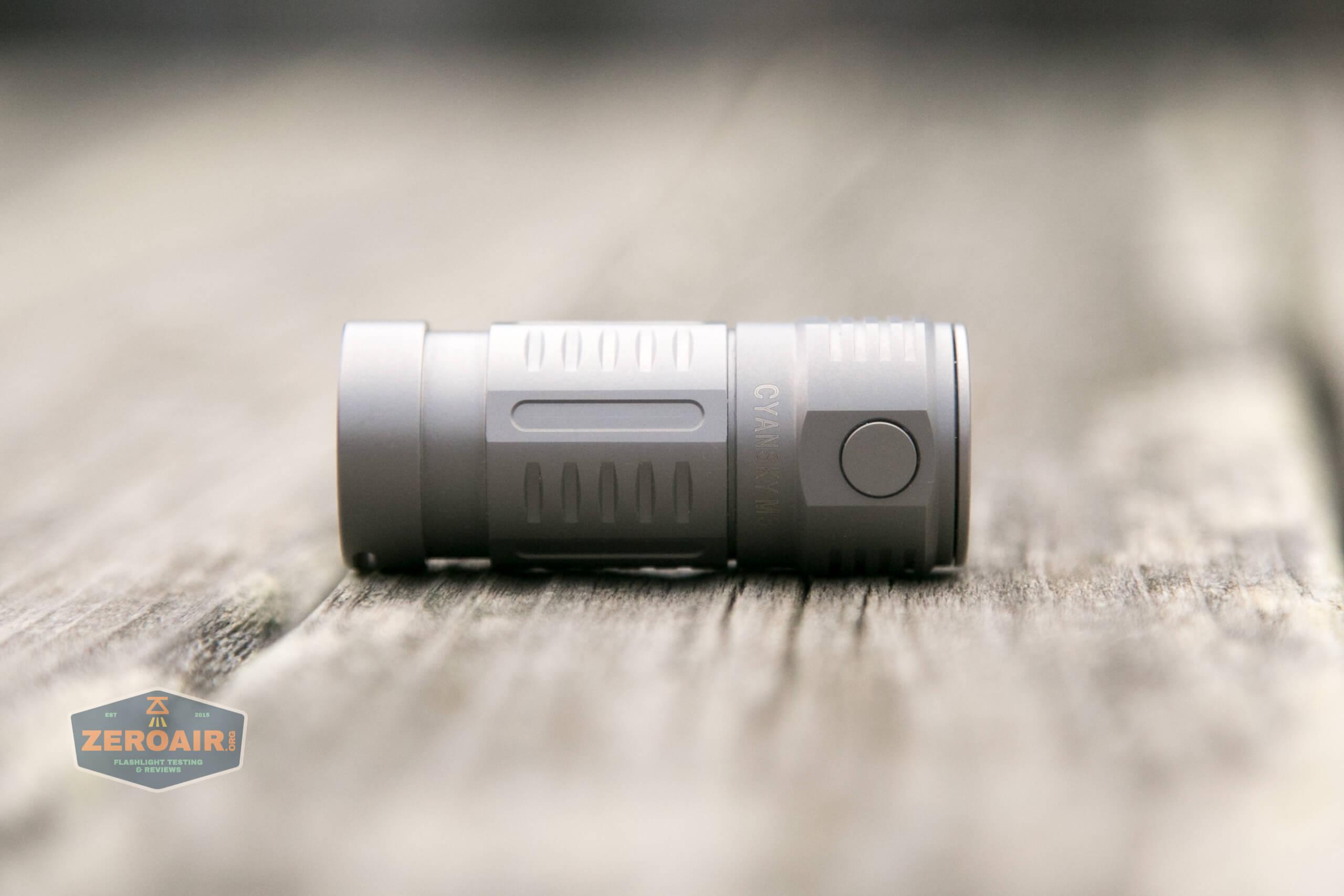 freasygears cyansky m3 titanium pocket flashlight on side