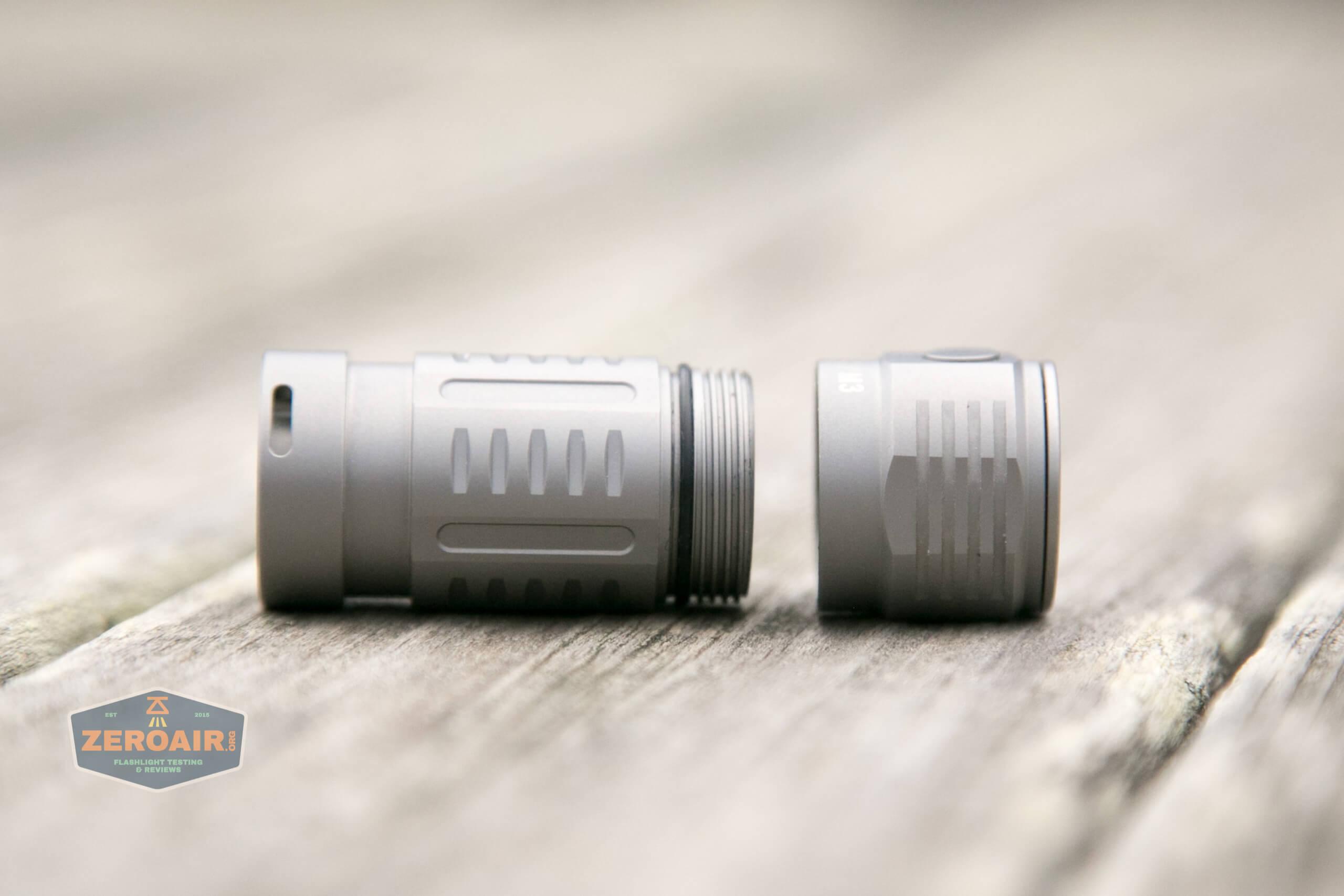 freasygears cyansky m3 titanium pocket flashlight head removed