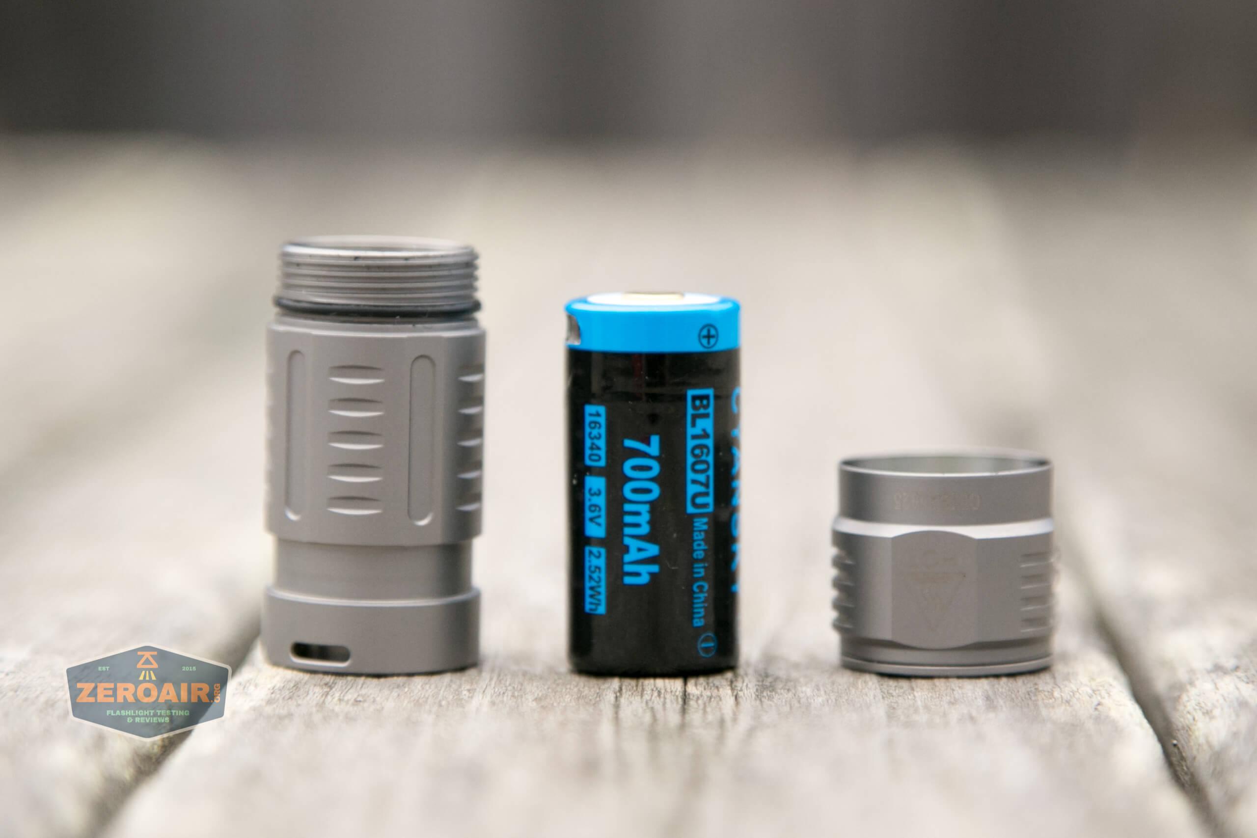 freasygears cyansky m3 titanium pocket flashlight disassembled and cell