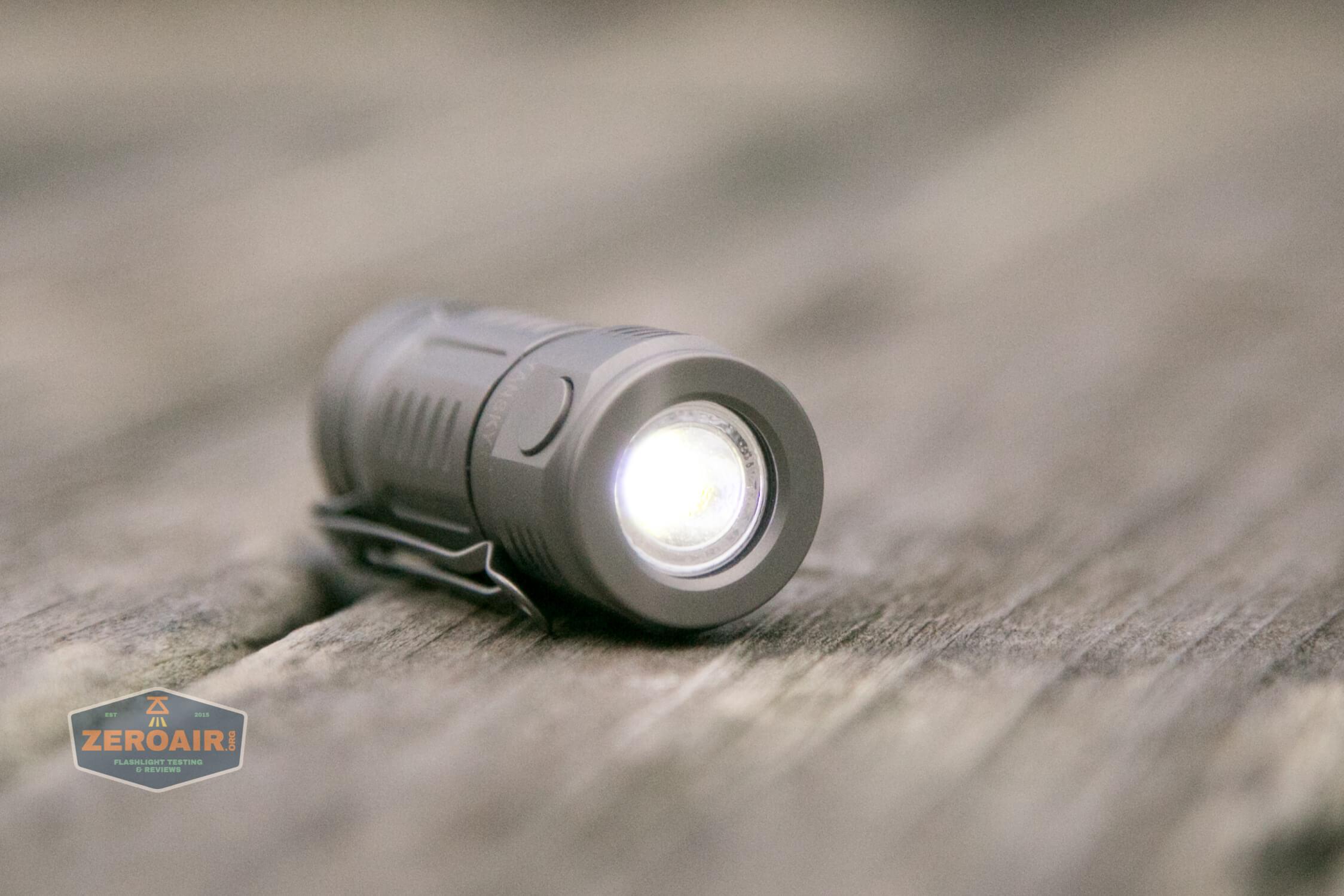 freasygears cyansky m3 titanium pocket flashlight on low