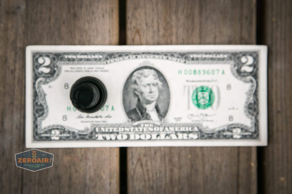 lumintop gt nano osram 10180 thrower on two dollar bill