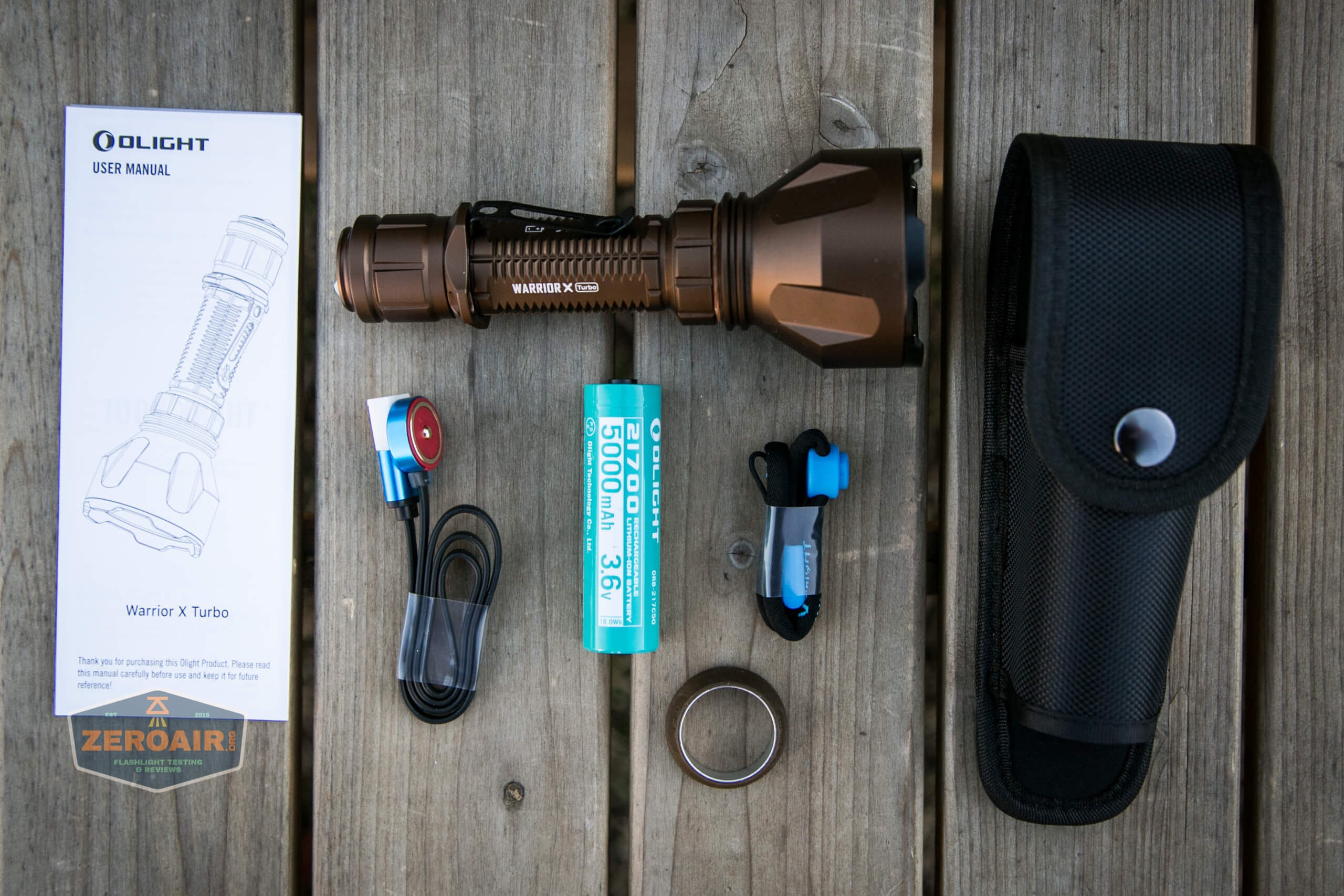 olight warrior x turbo desert tan flashlight what's included