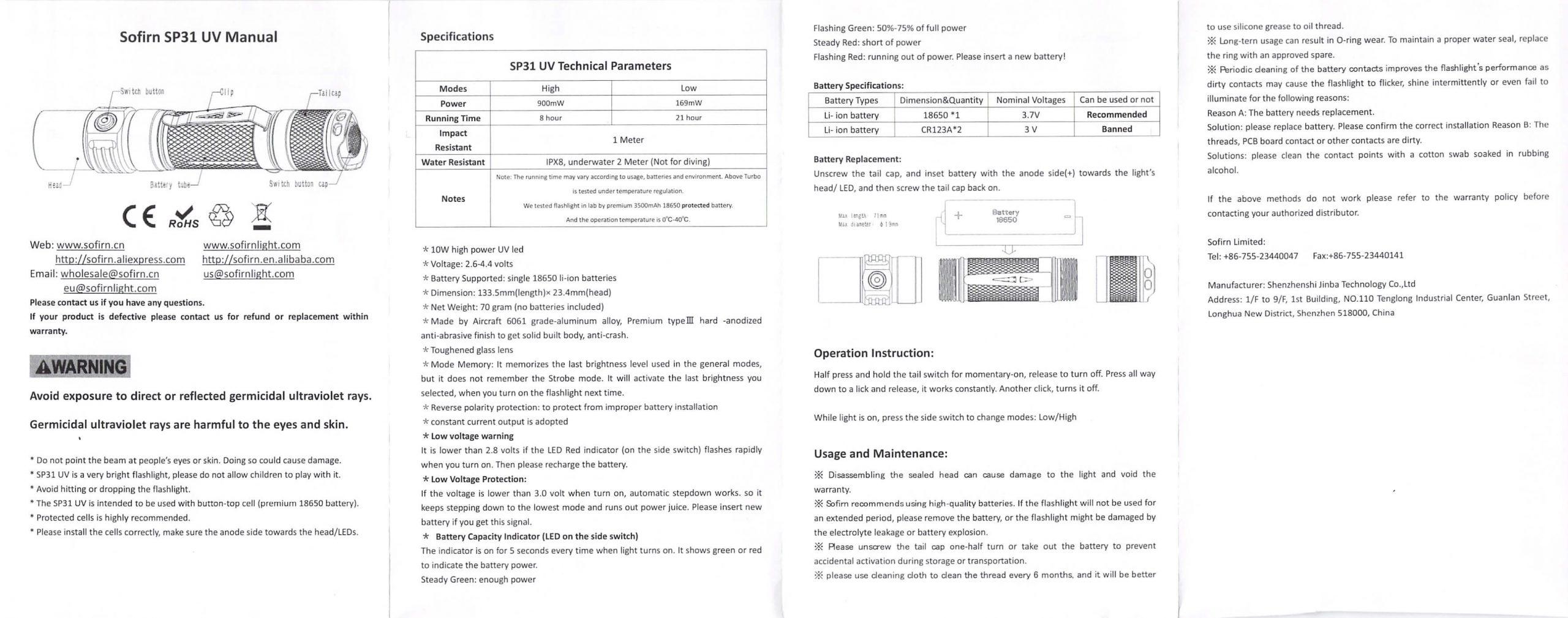 sofirn sp31uv ultraviolet 18650 flashlight manual