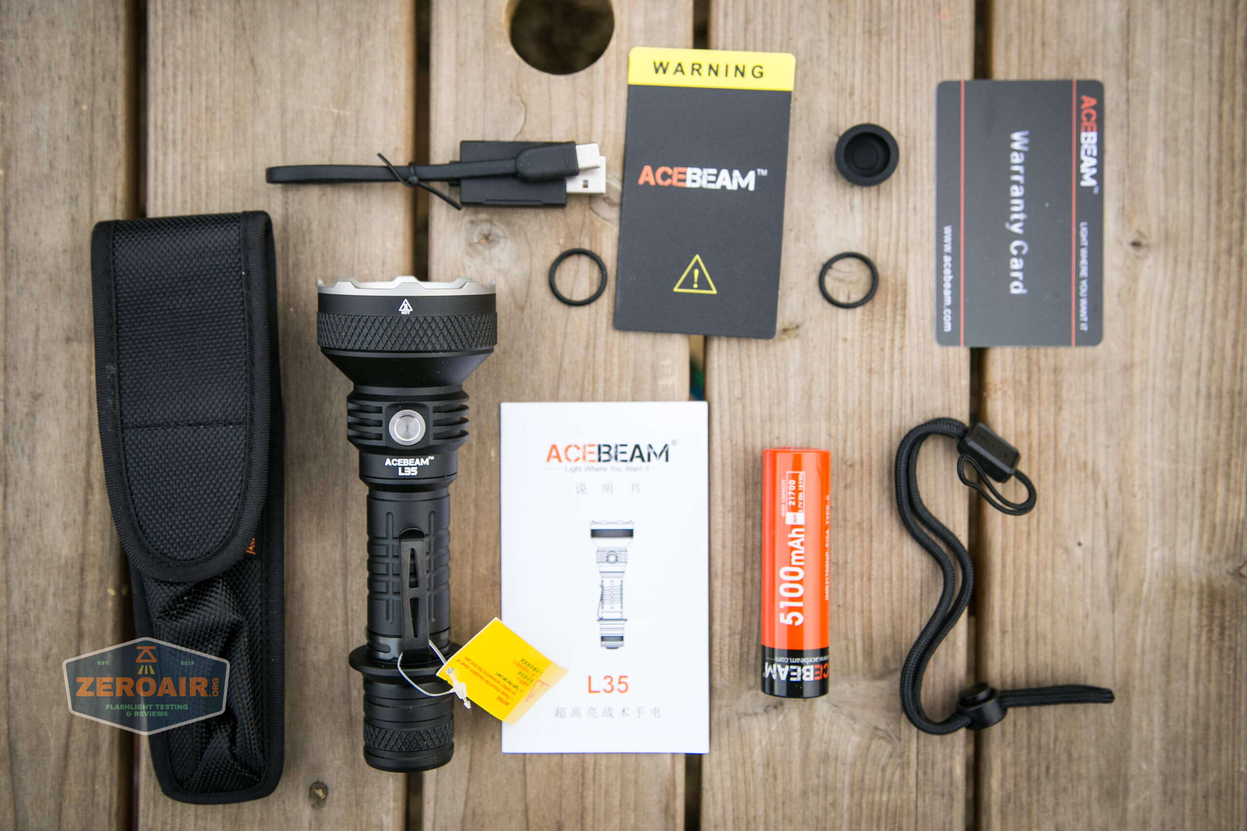 acebeam l35 flashlight what's included