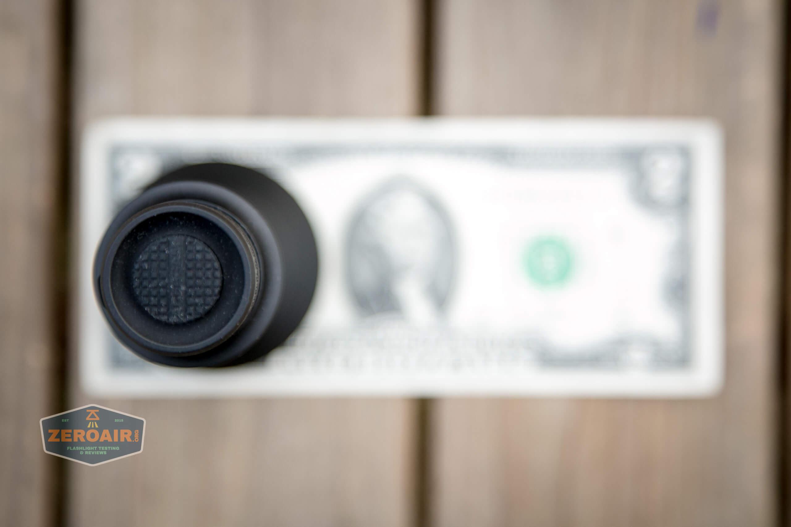 Acebeam L35 brightest tactical flashlight on two dollar bill