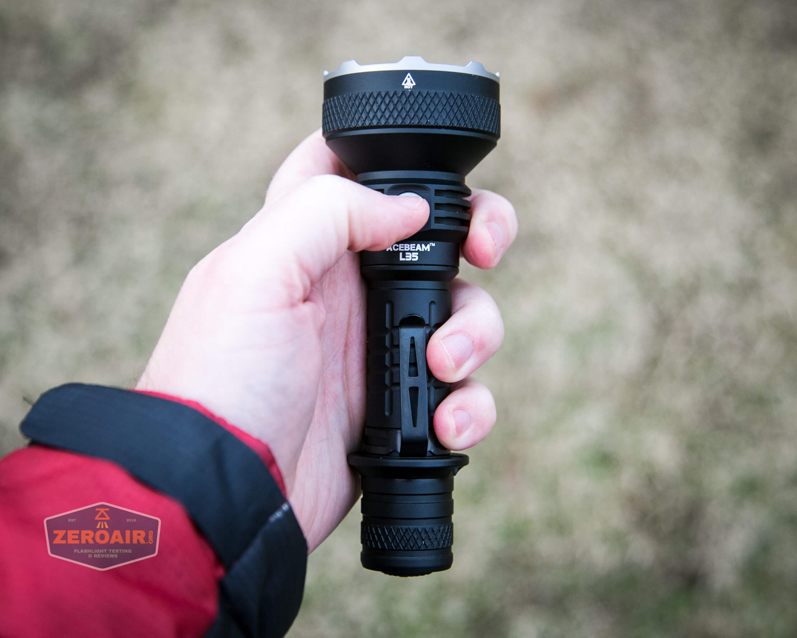 Acebeam L35 brightest tactical flashlight in hand