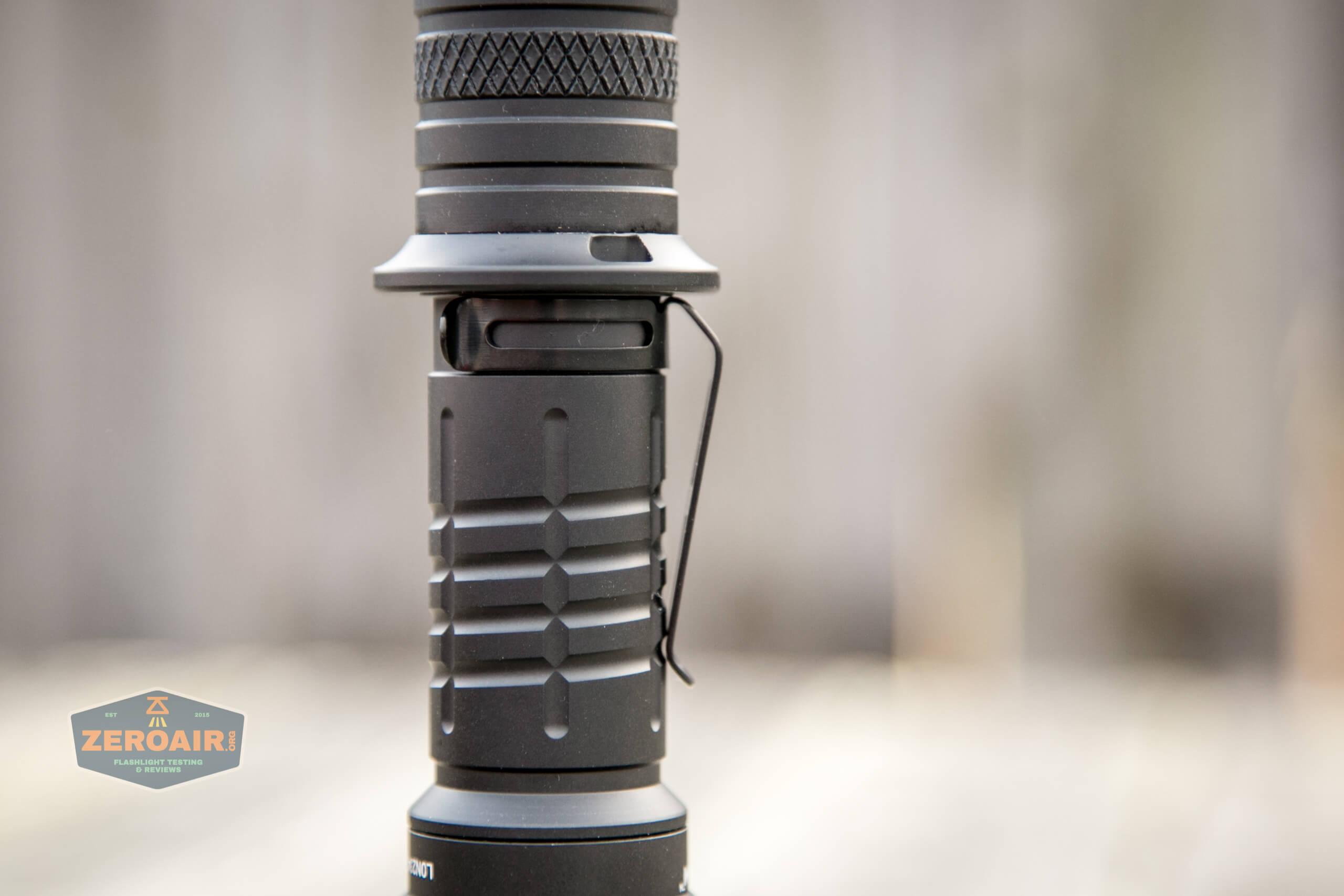 Acebeam L35 brightest tactical flashlight pocket clip detail
