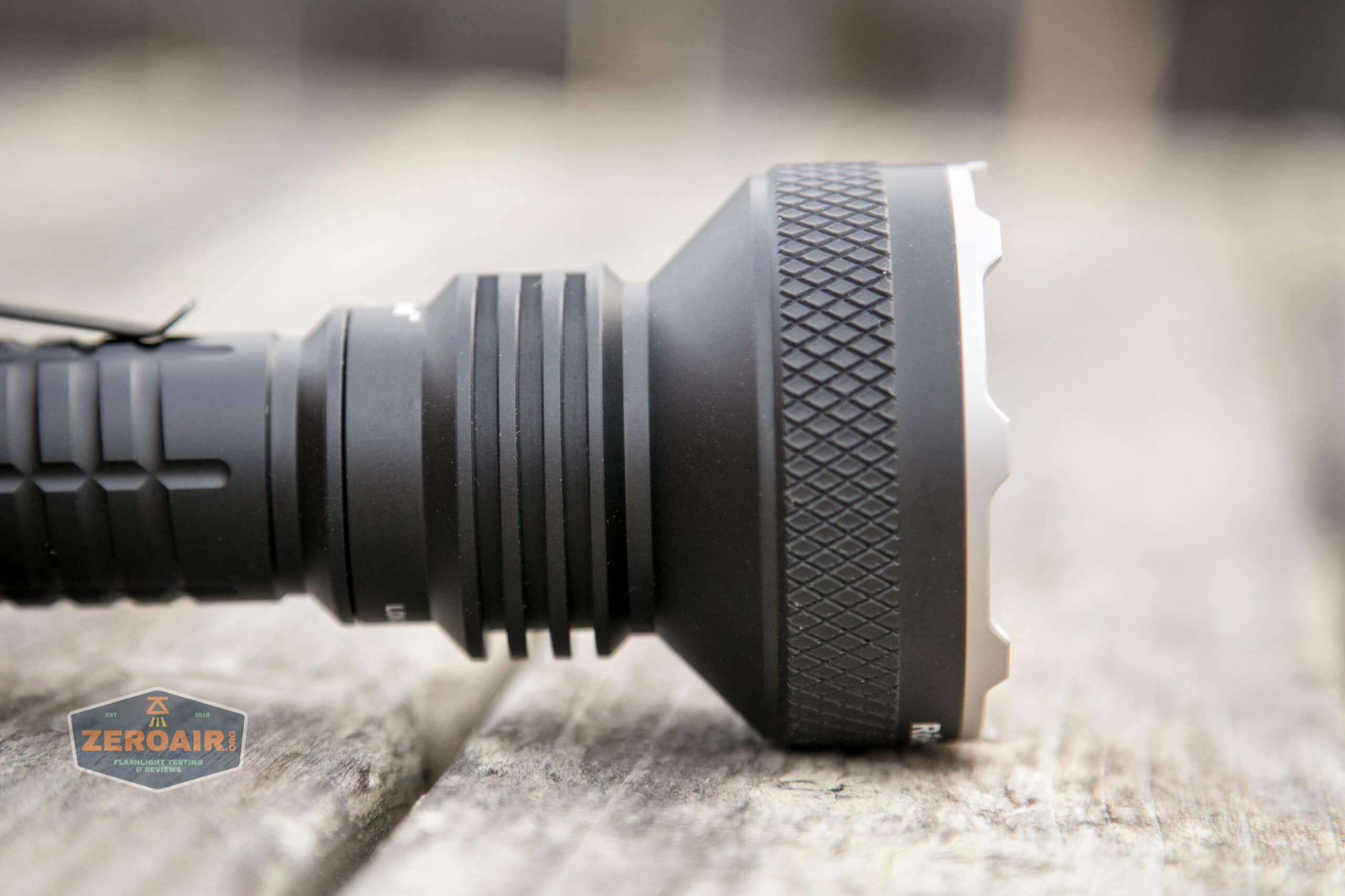 acebeam l35 flashlight head knurling side view
