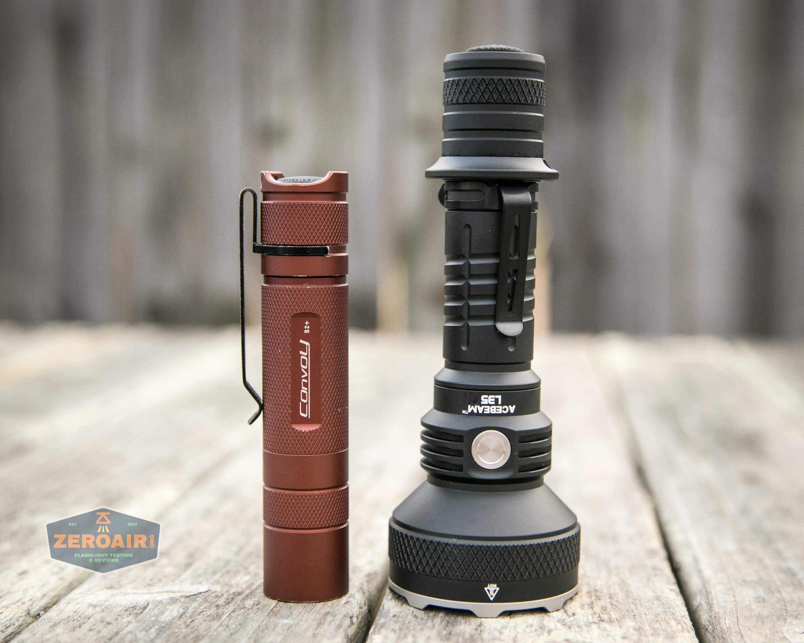 Acebeam L35 brightest tactical flashlight beside convoy s2+