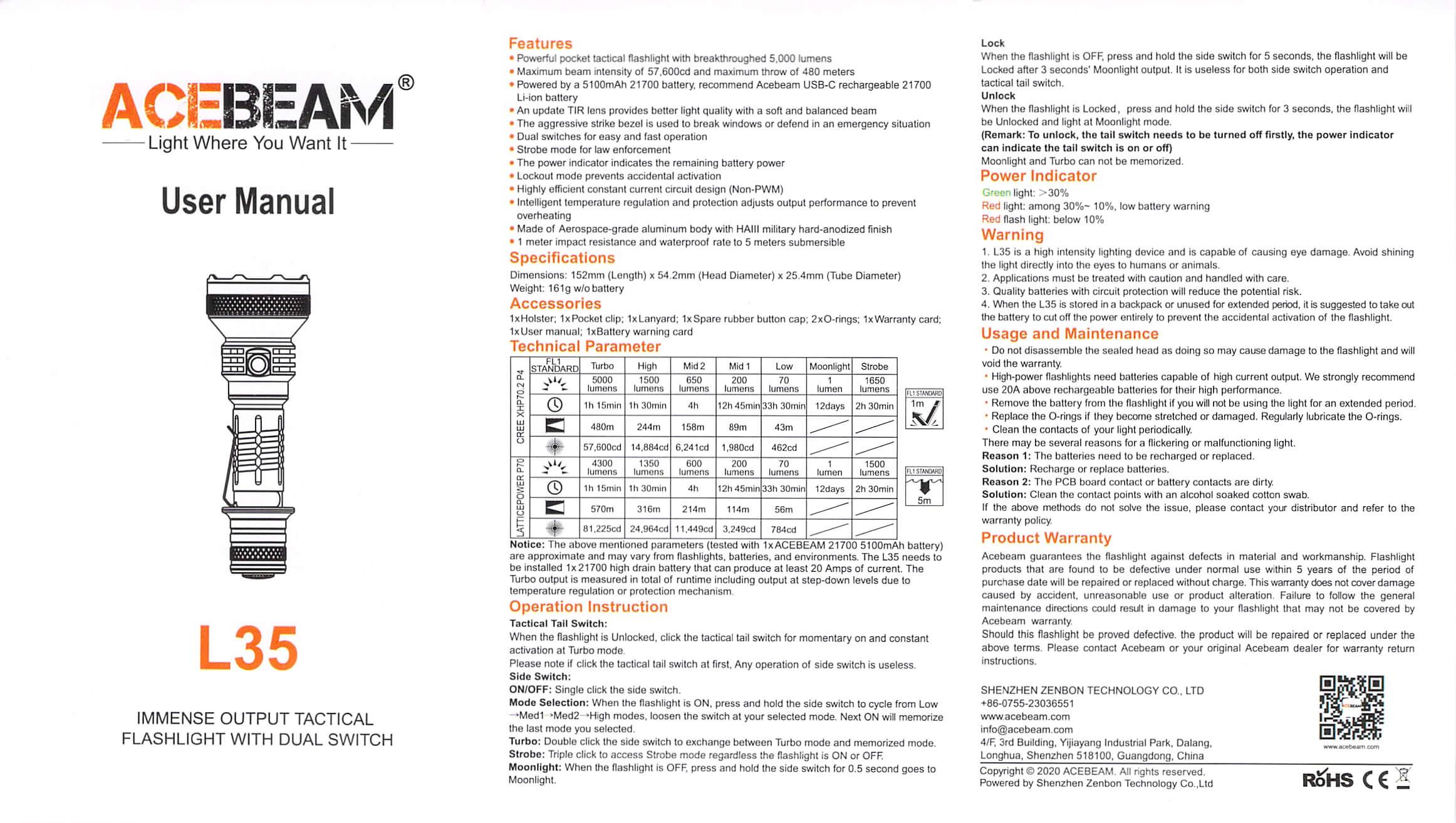 Acebeam L35 flashlight manual