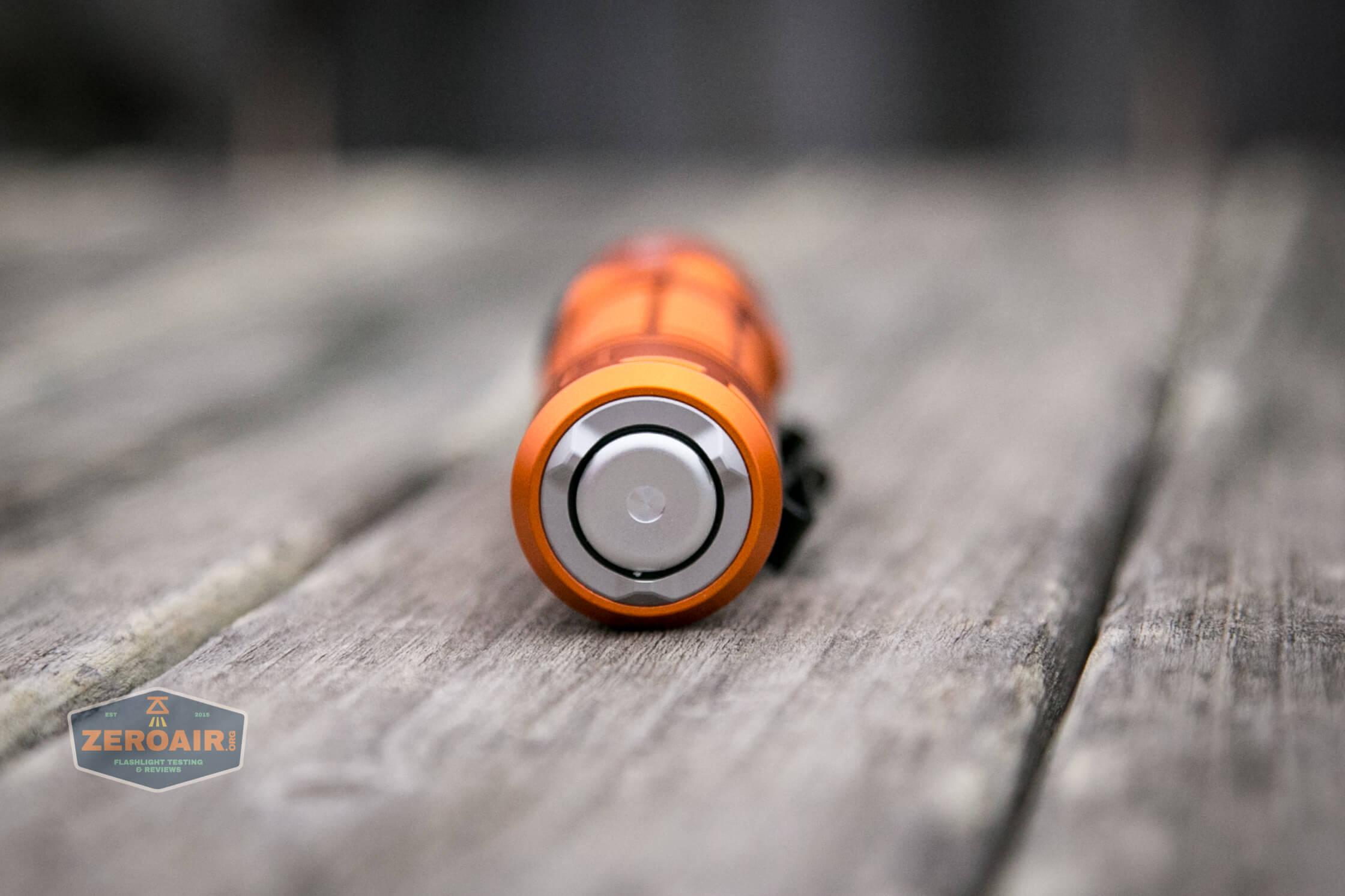 Olight M2R Pro Warrior Orange tailcap switch