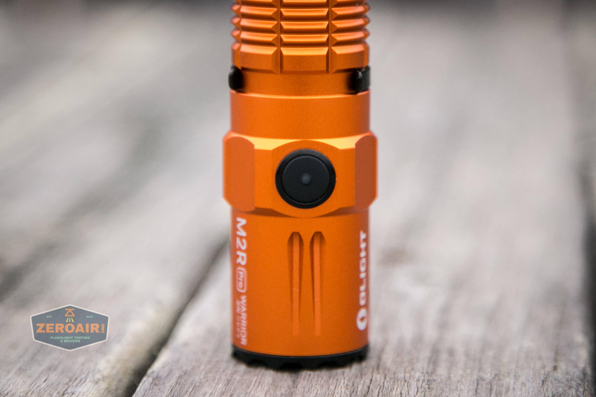 Olight M2R Pro Warrior Orange eswitch detail