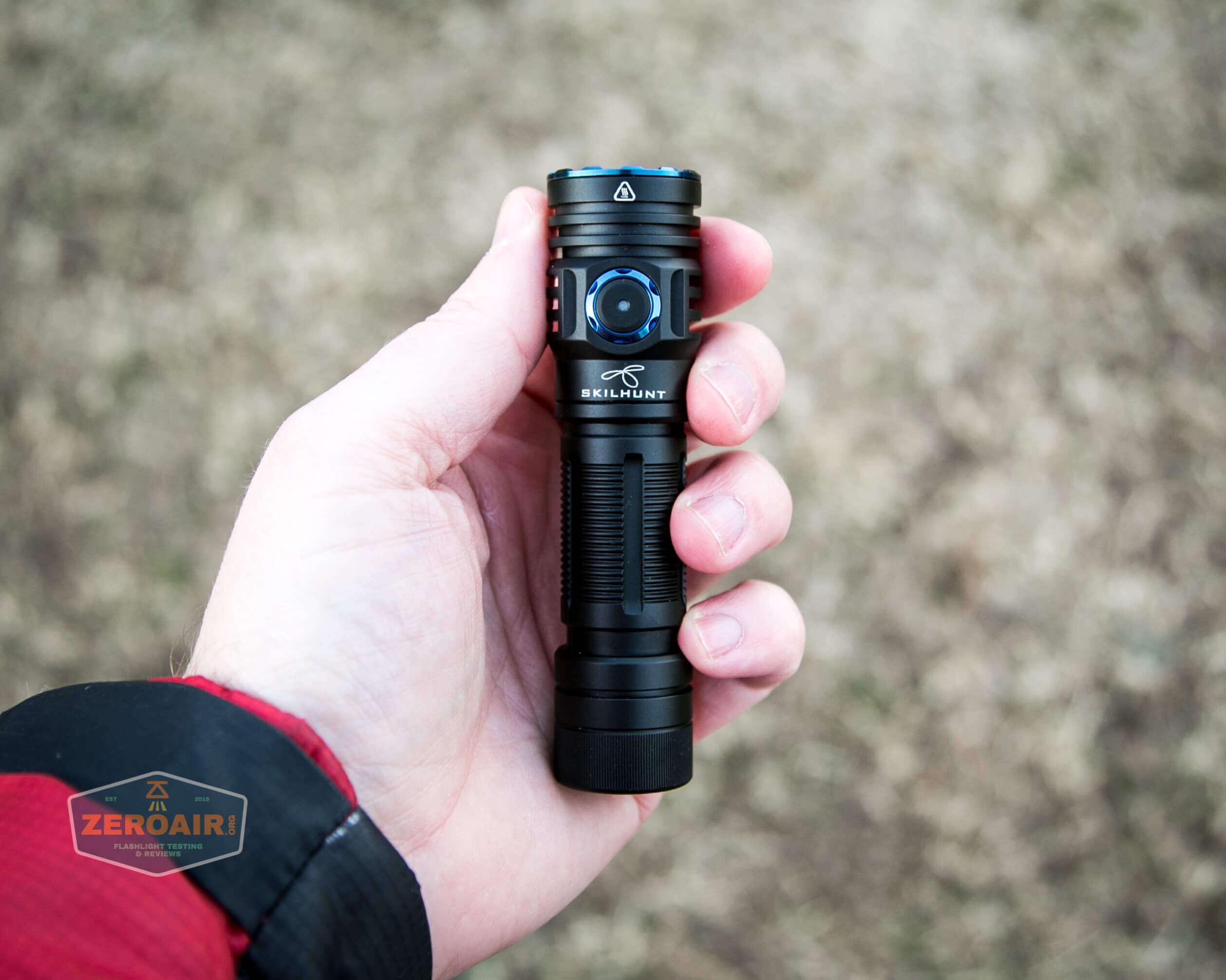 skilhunt m300 18650 flashlight in hand
