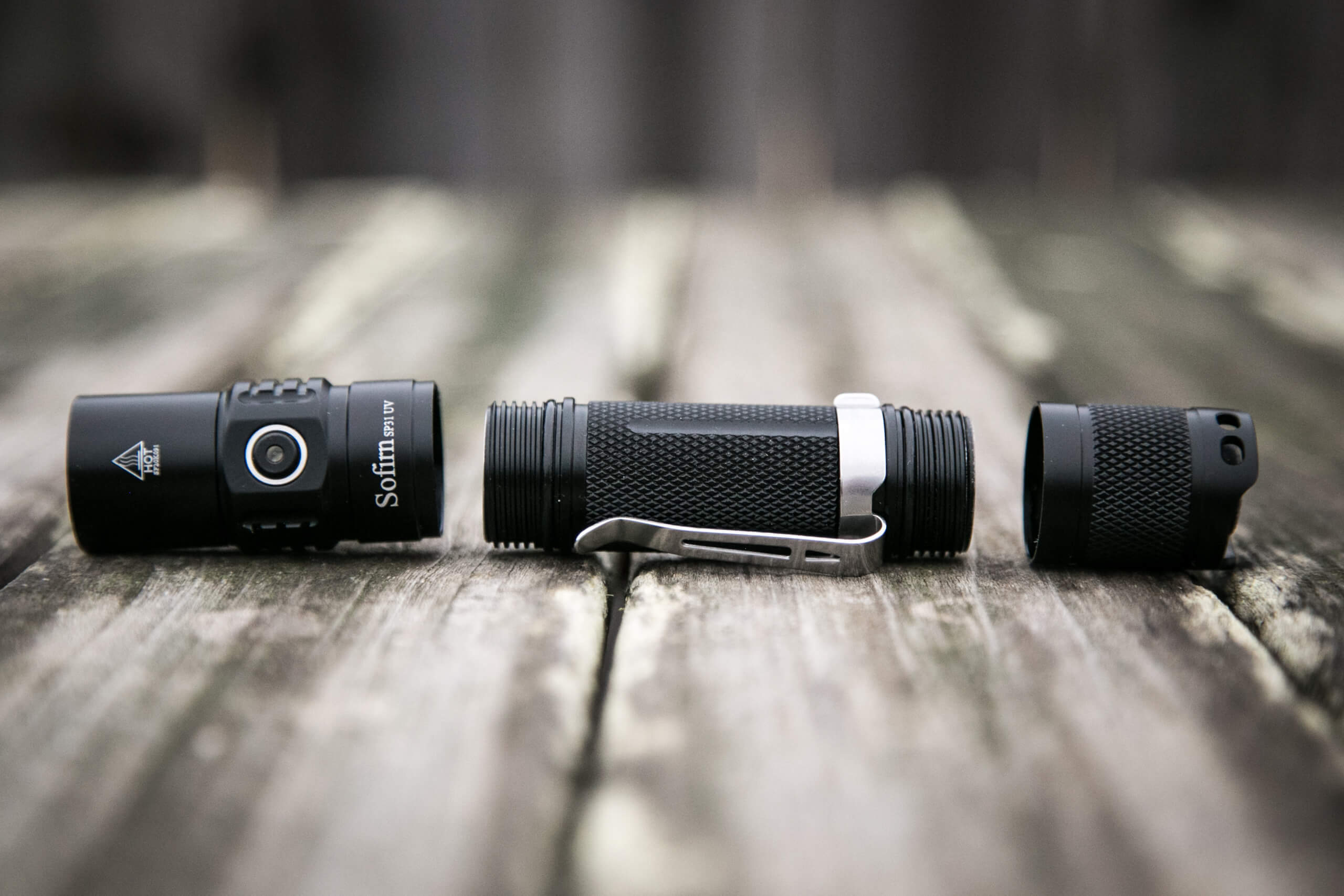 sofirn sp31uv ultraviolet 18650 flashlight head and tail off