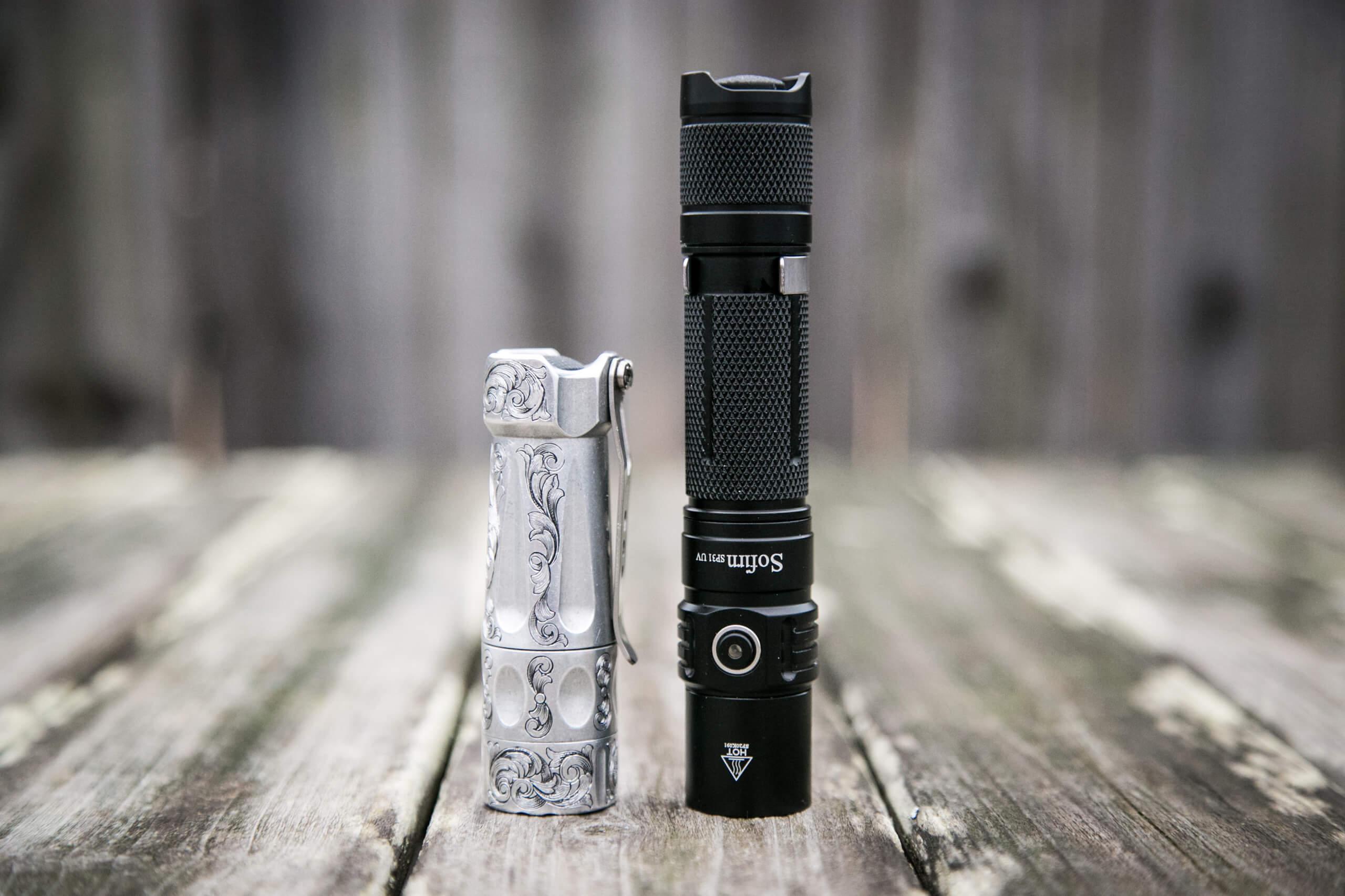 sofirn sp31uv ultraviolet 18650 flashlight beside torchlab boss 35