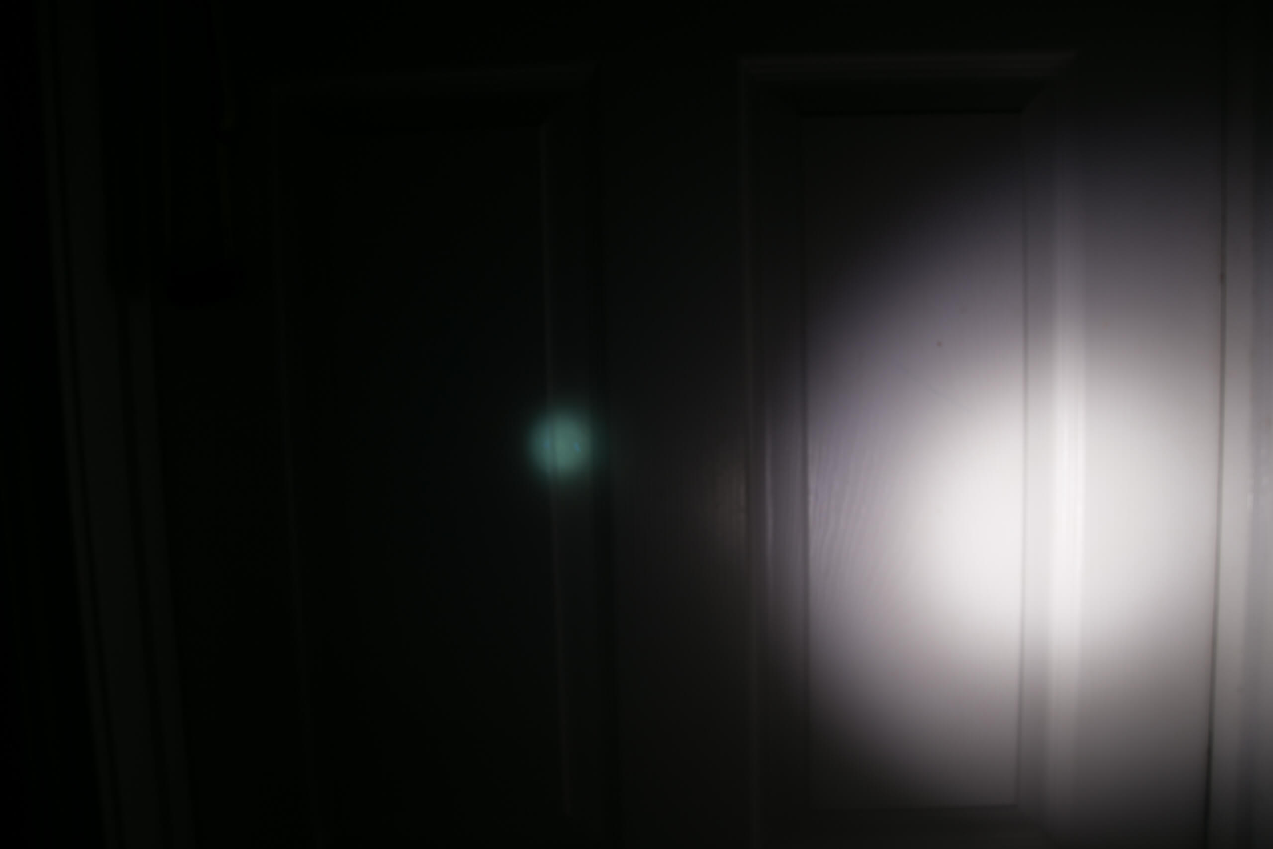 sofirn sp31uv ultraviolet 18650 flashlight beamshots door low