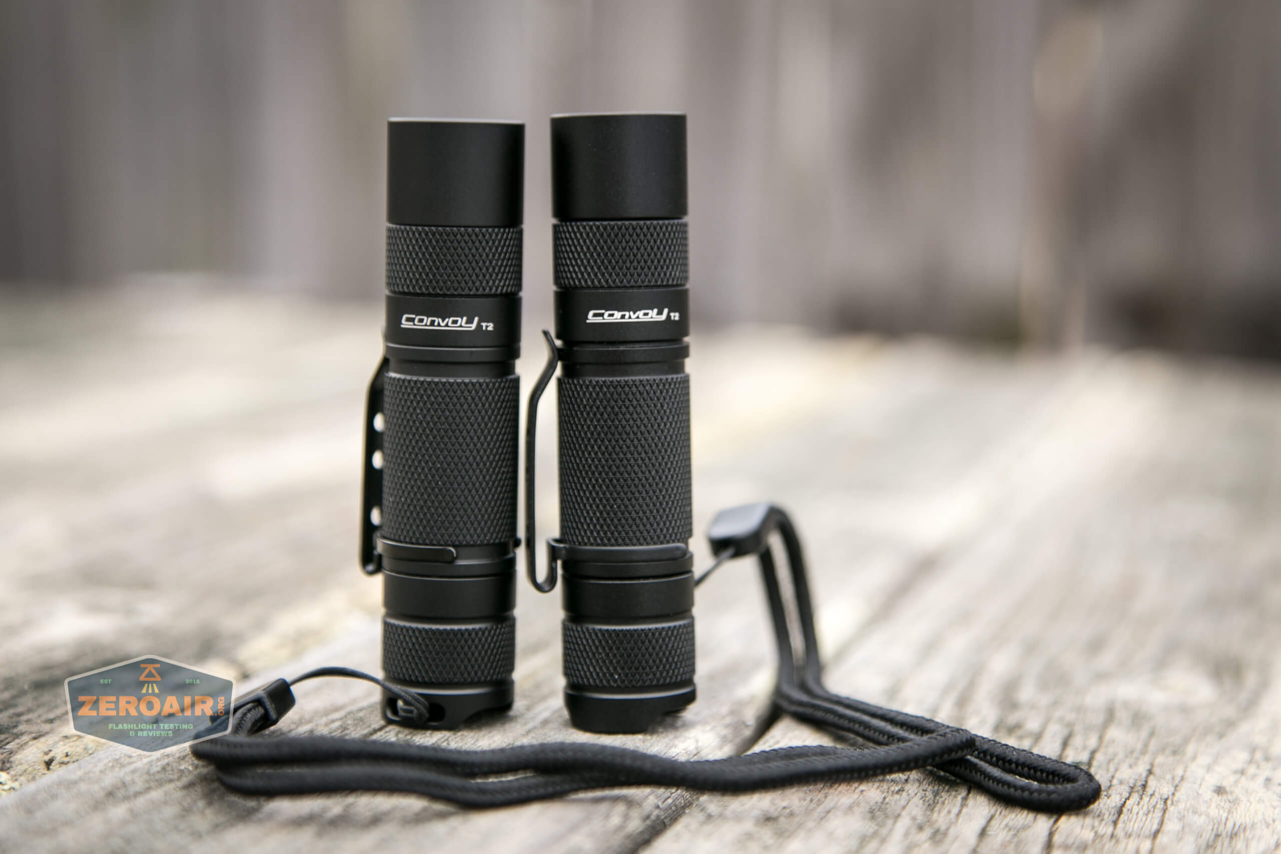 convoy t2 updated 14500/AA flashlight beside convoy t2 original
